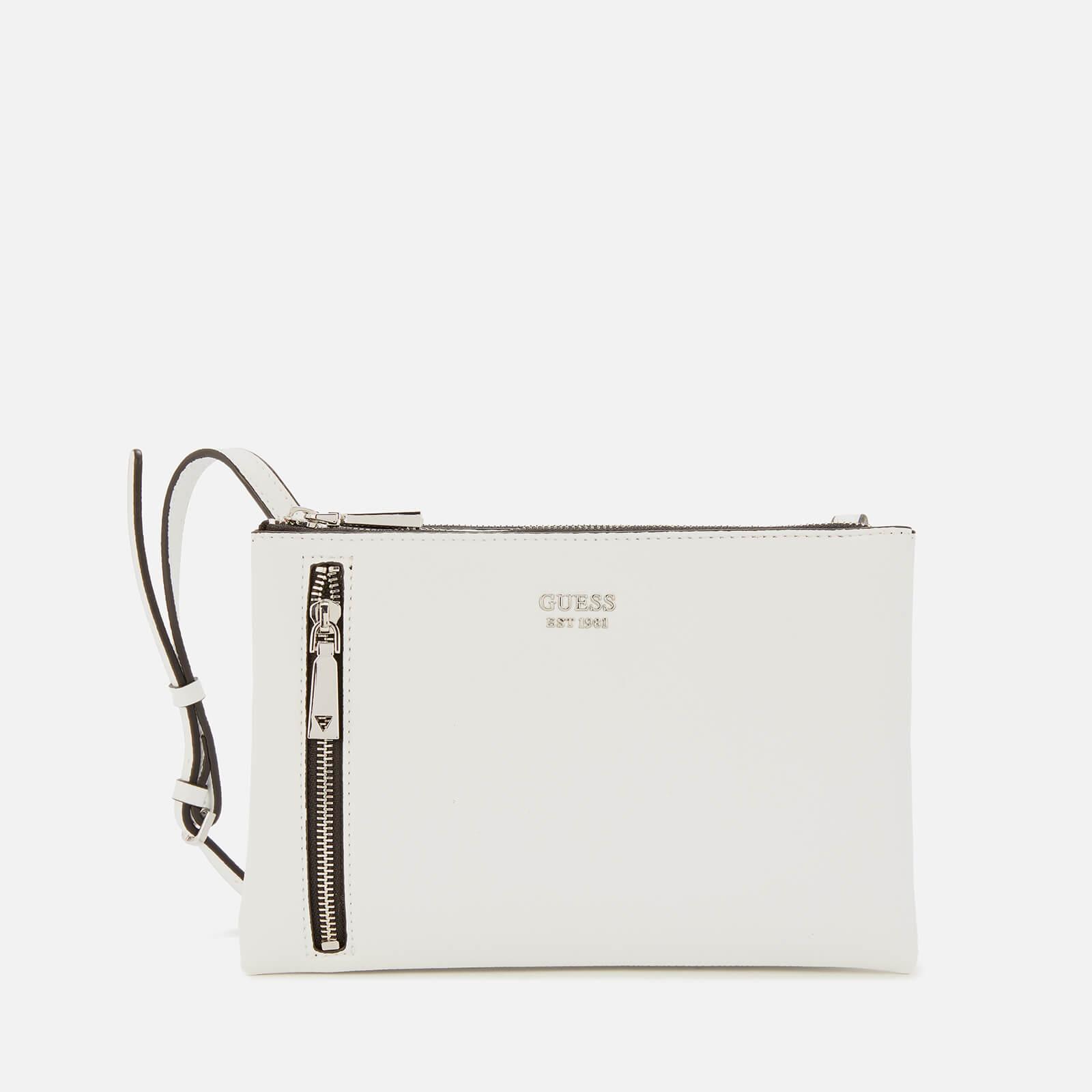 guess women's naya mini double zip cross body bag - white