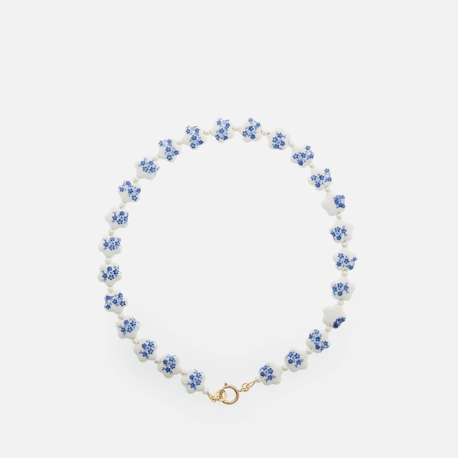 shrimps women's elias enamel necklace - blue & cream