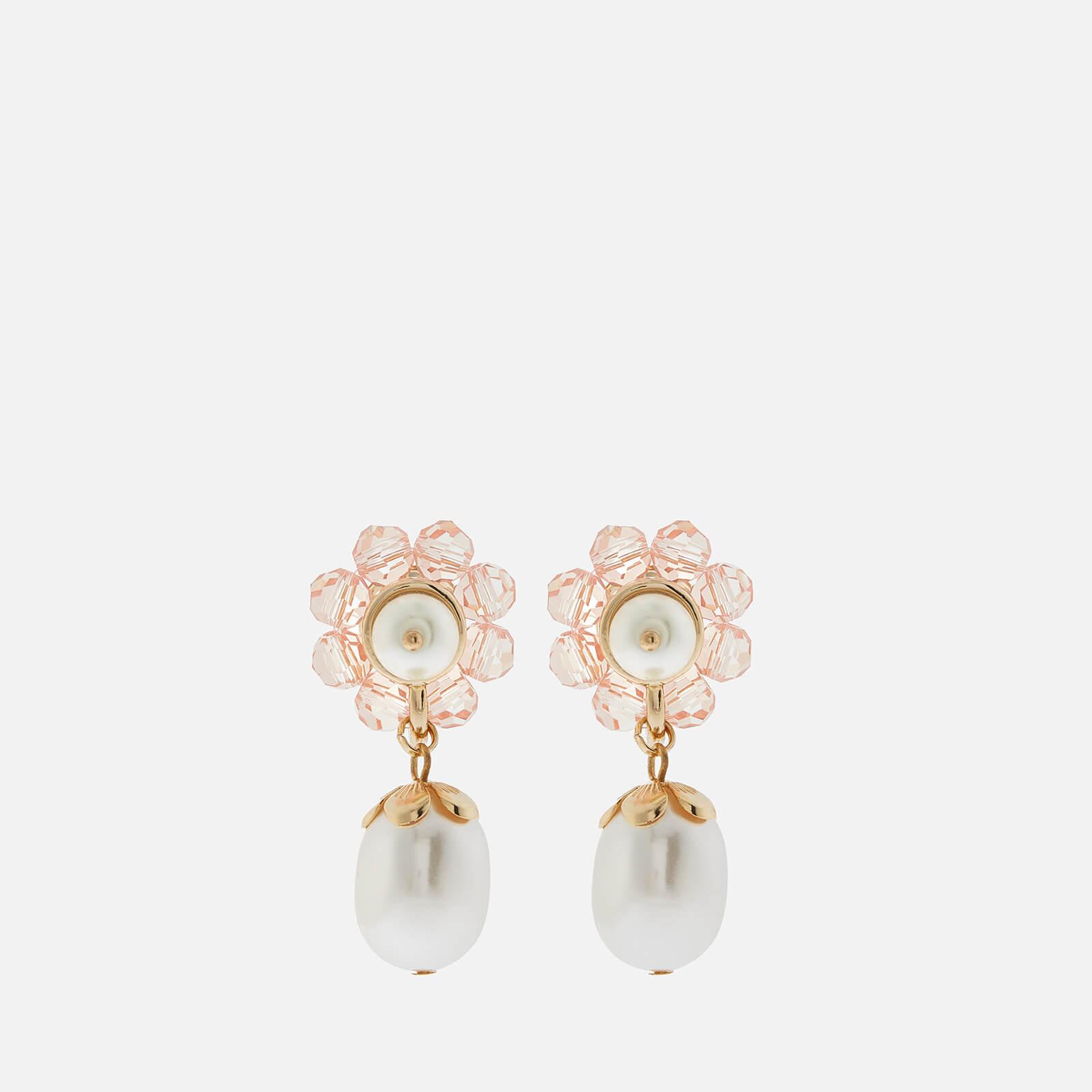 Shrimps Women's Marti Flower Pearl Drop Earrings - Coral & Cream
