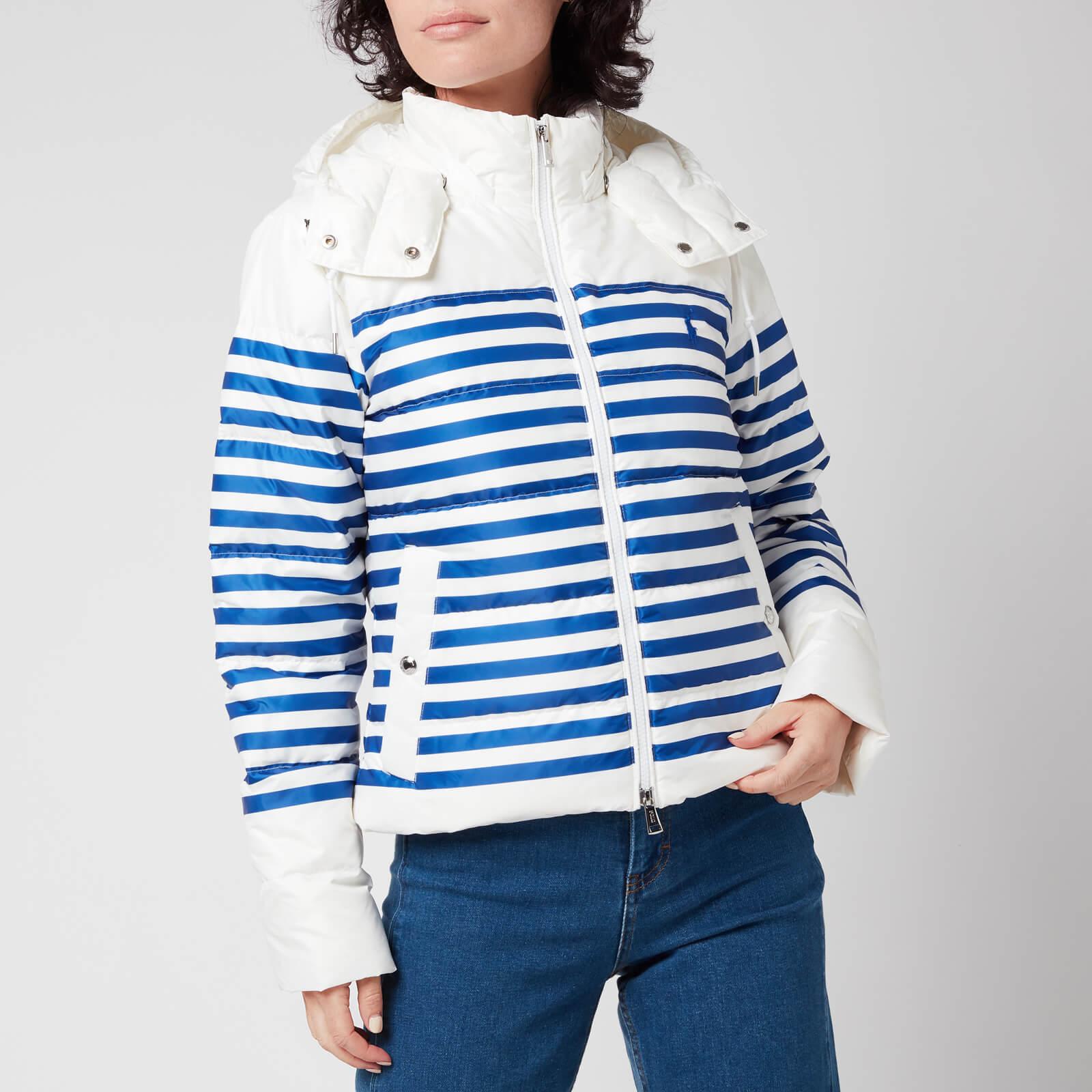 Polo Ralph Lauren Women's Down Fill Jacket - White/Blue Stripe