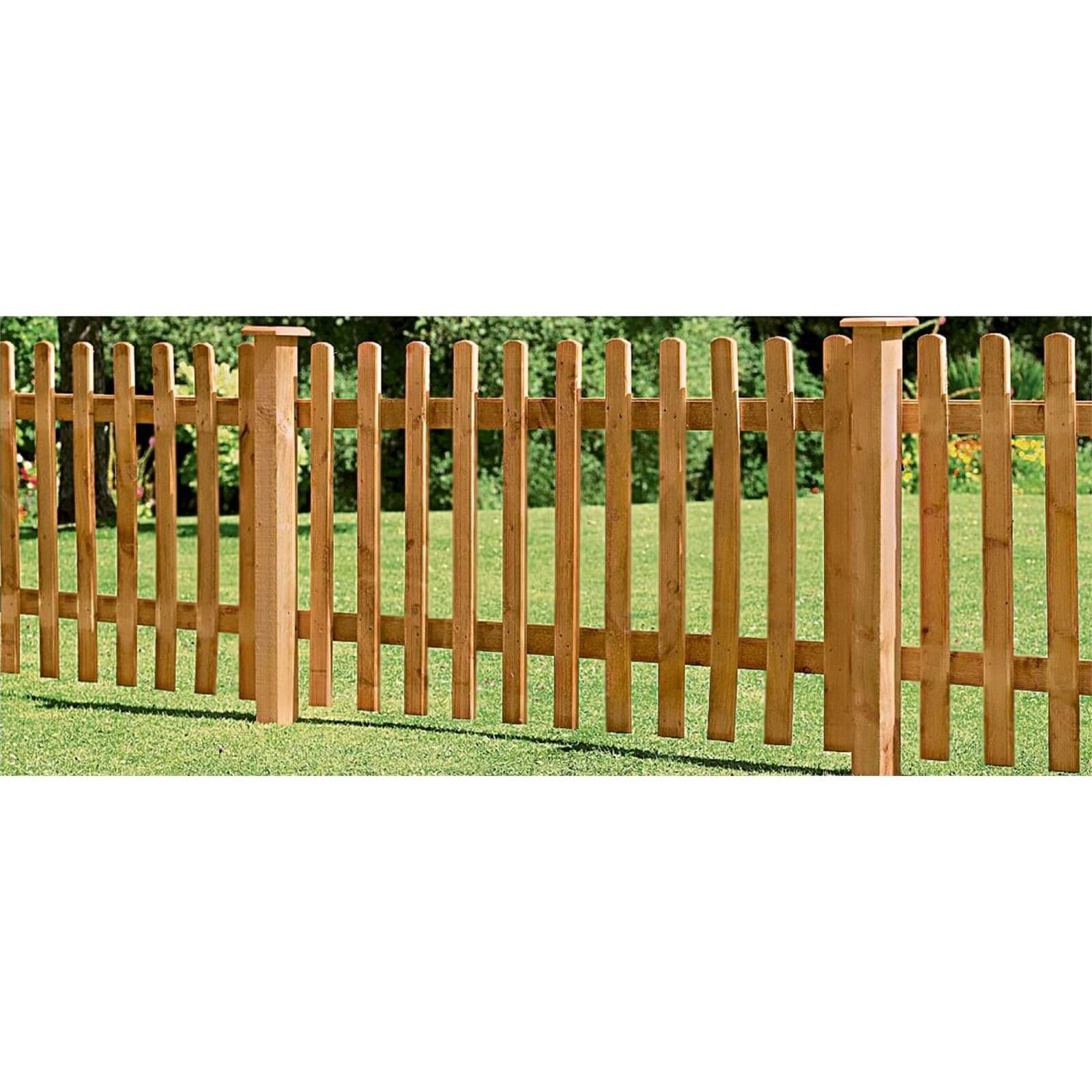 Forest Larchlap Pale 0.9m Picket Fence Panel - Pack of 4