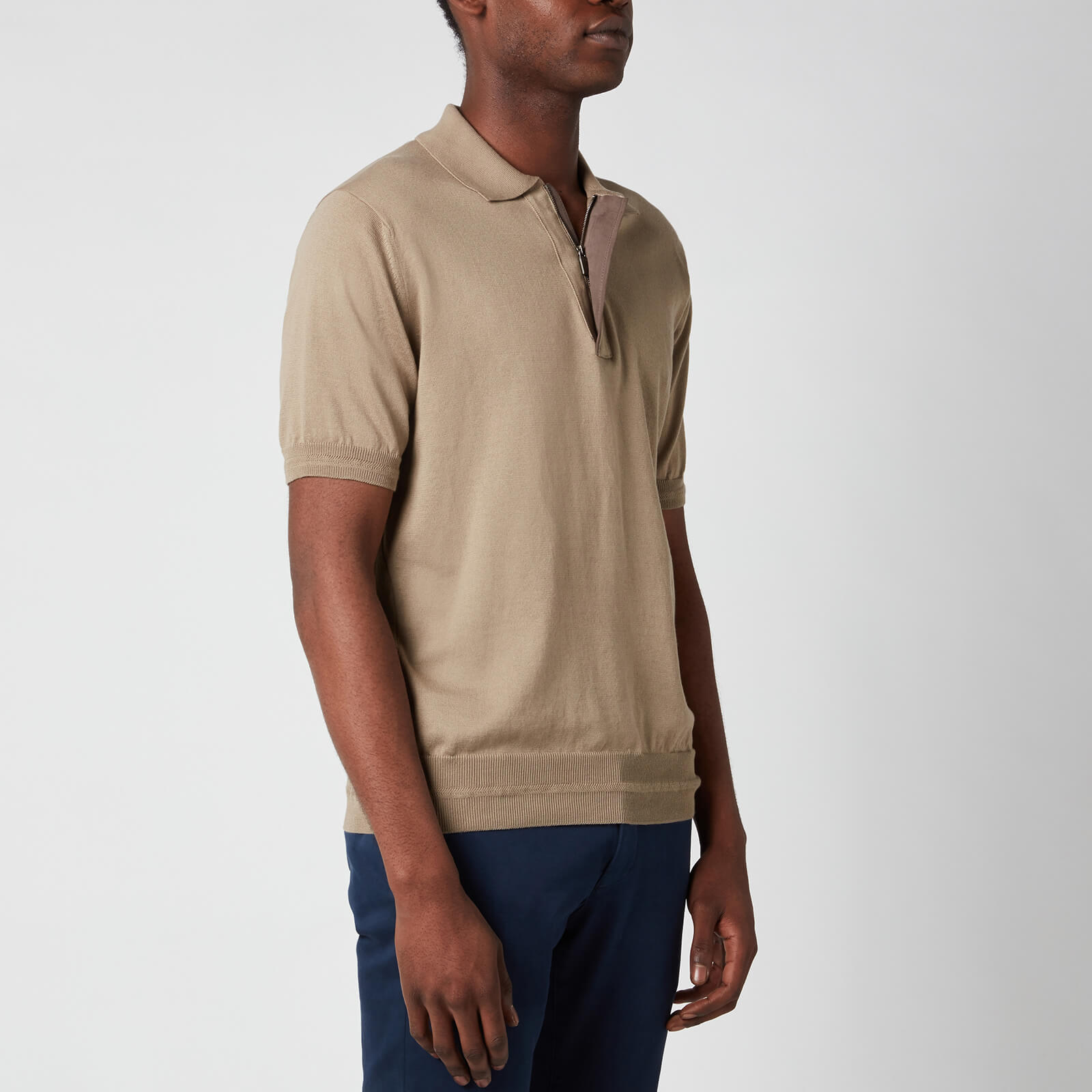 Canali Men's Suede Trim Polo Shirt - Khaki - It 54/Xxl