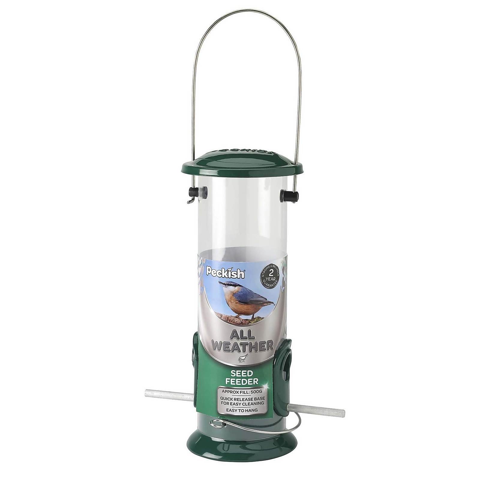 Peckish All Weather 3 Wild Bird Seed Feeder - Green