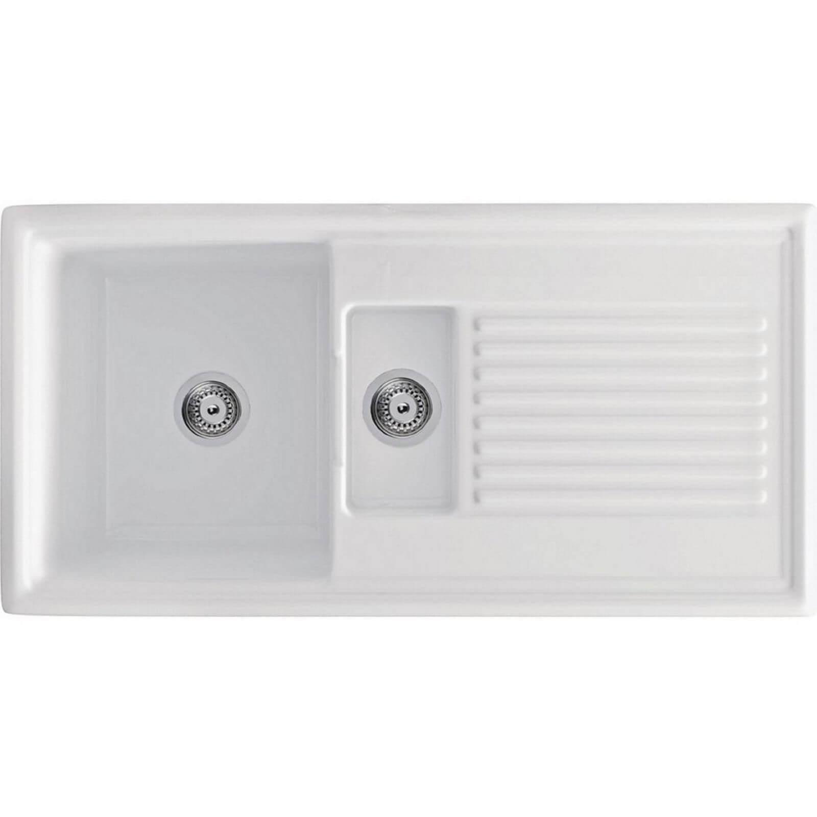 Carron Phoenix Sienna Ceramic Reversible Kitchen Sink - 1.5 Bowl