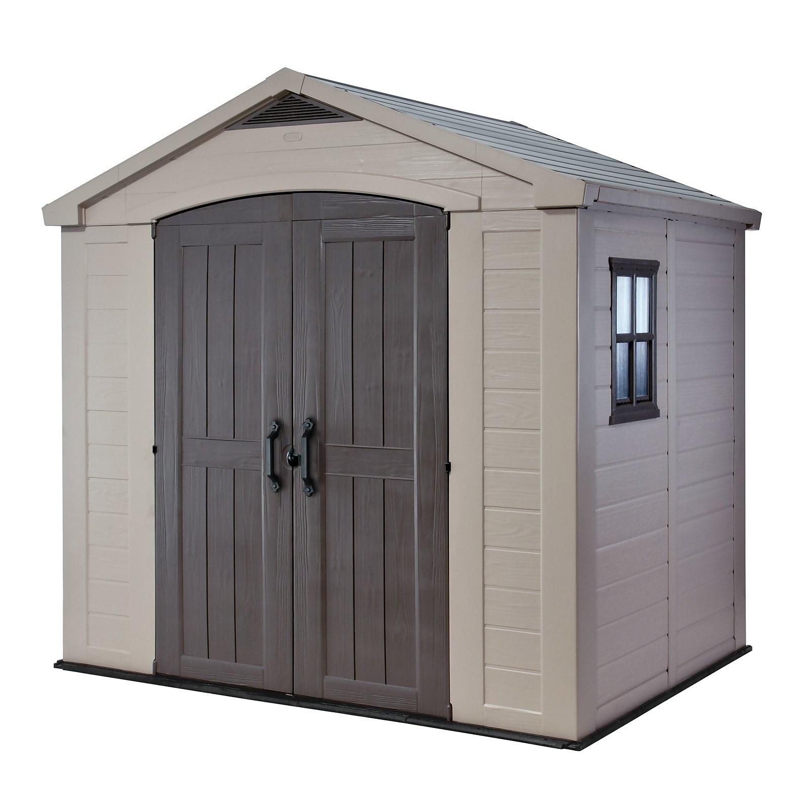Keter Factor 8x6ft Outdoor Plastic Garden Storage Shed - Beige/Brown