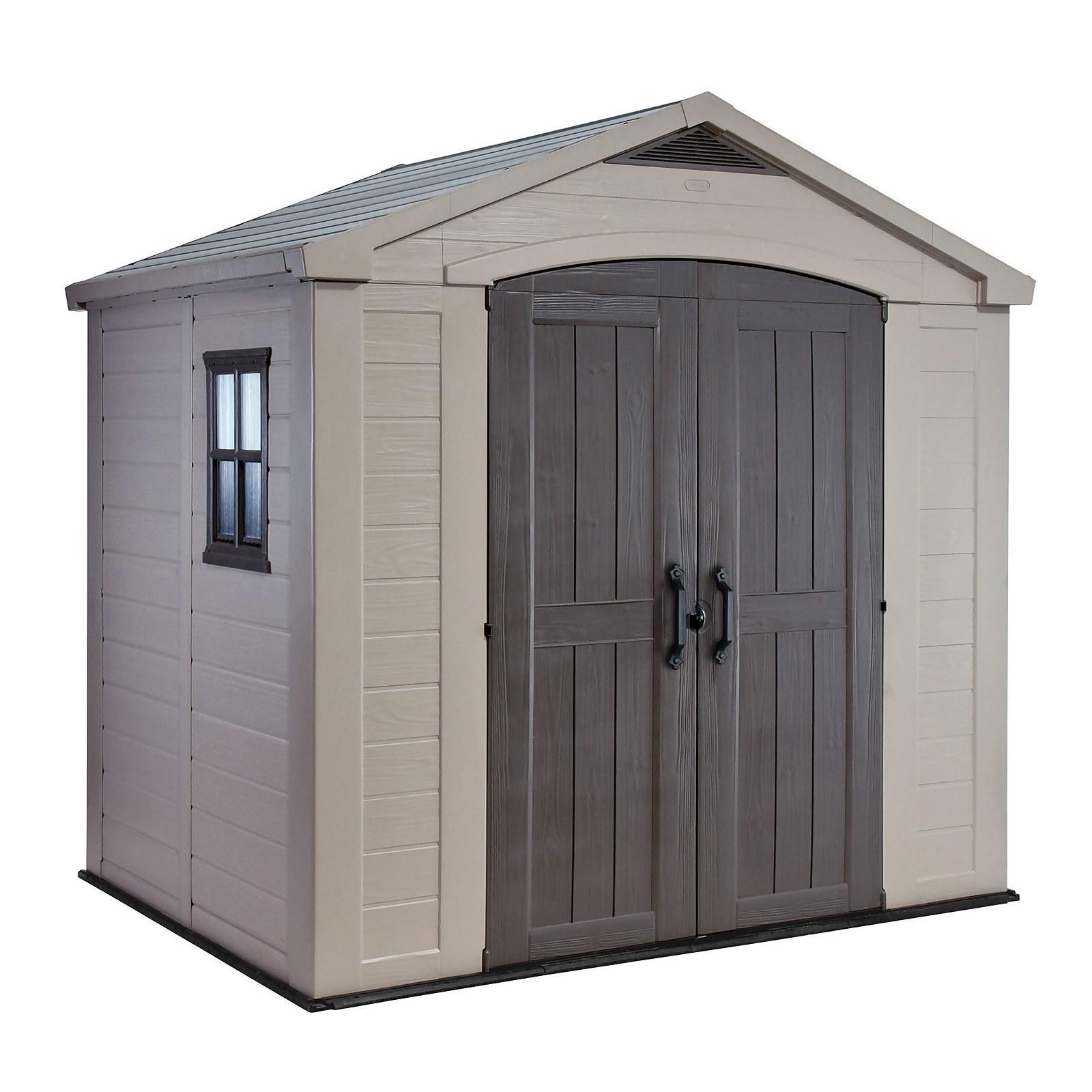 Keter Factor 8 x 6ft Outdoor Garden Apex Storage Shed - Beige/Brown