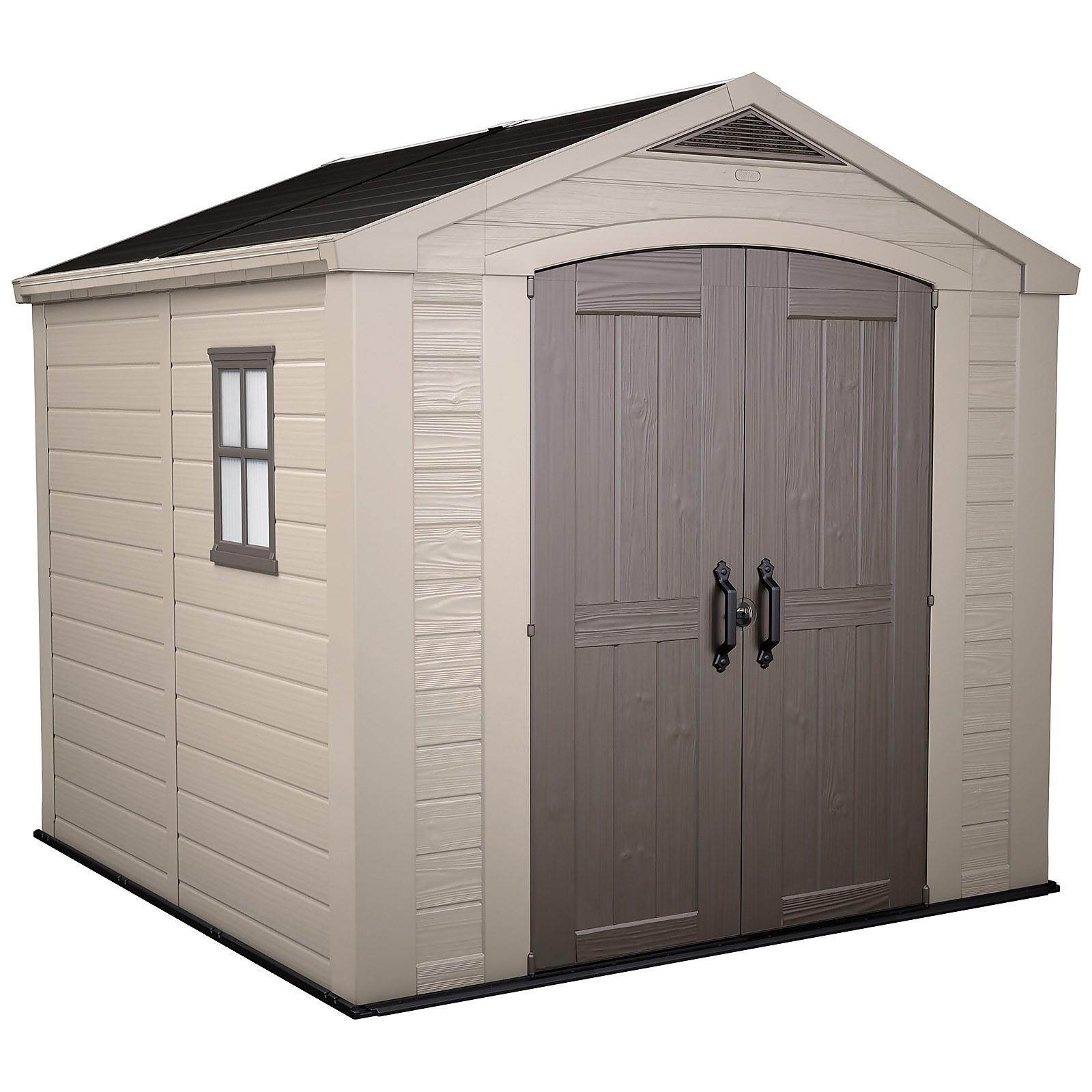 Keter Factor 8 x 8ft Outdoor Garden Apex Storage Shed - Beige/Brown