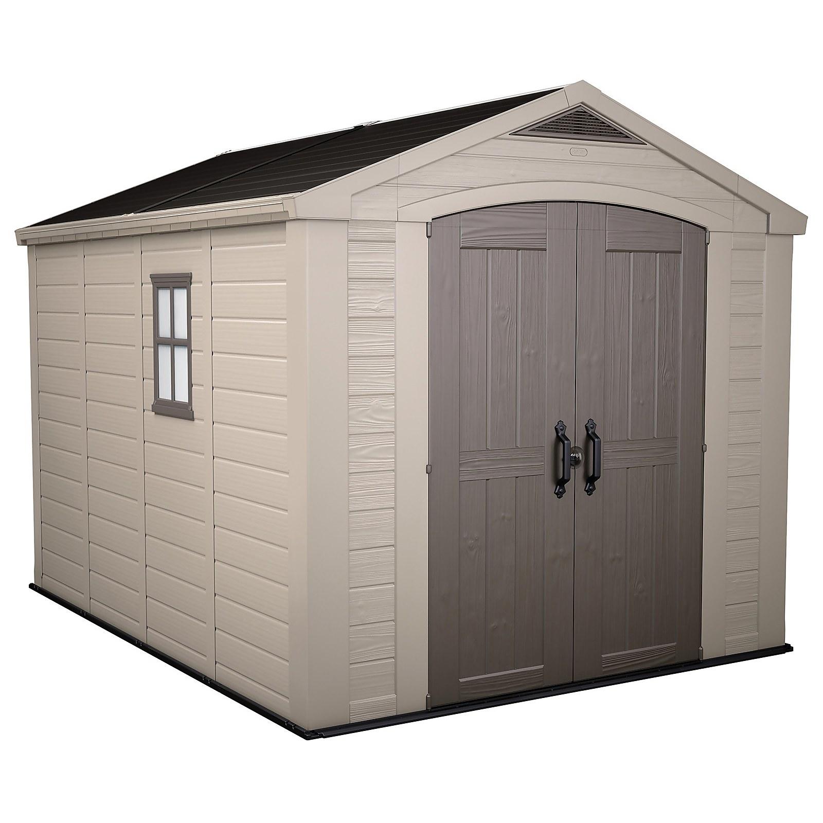Keter Factor 8 x 11ft Outdoor Garden Apex Storage Shed - Beige/Brown