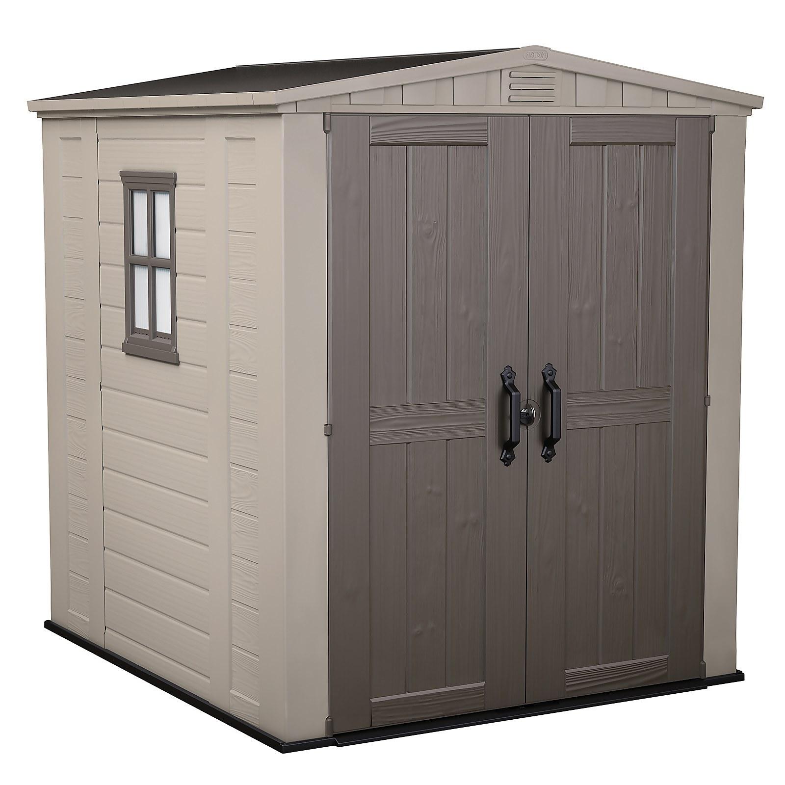 Keter Factor 6 x 6ft Outdoor Garden Apex Storage Shed - Beige/Brown