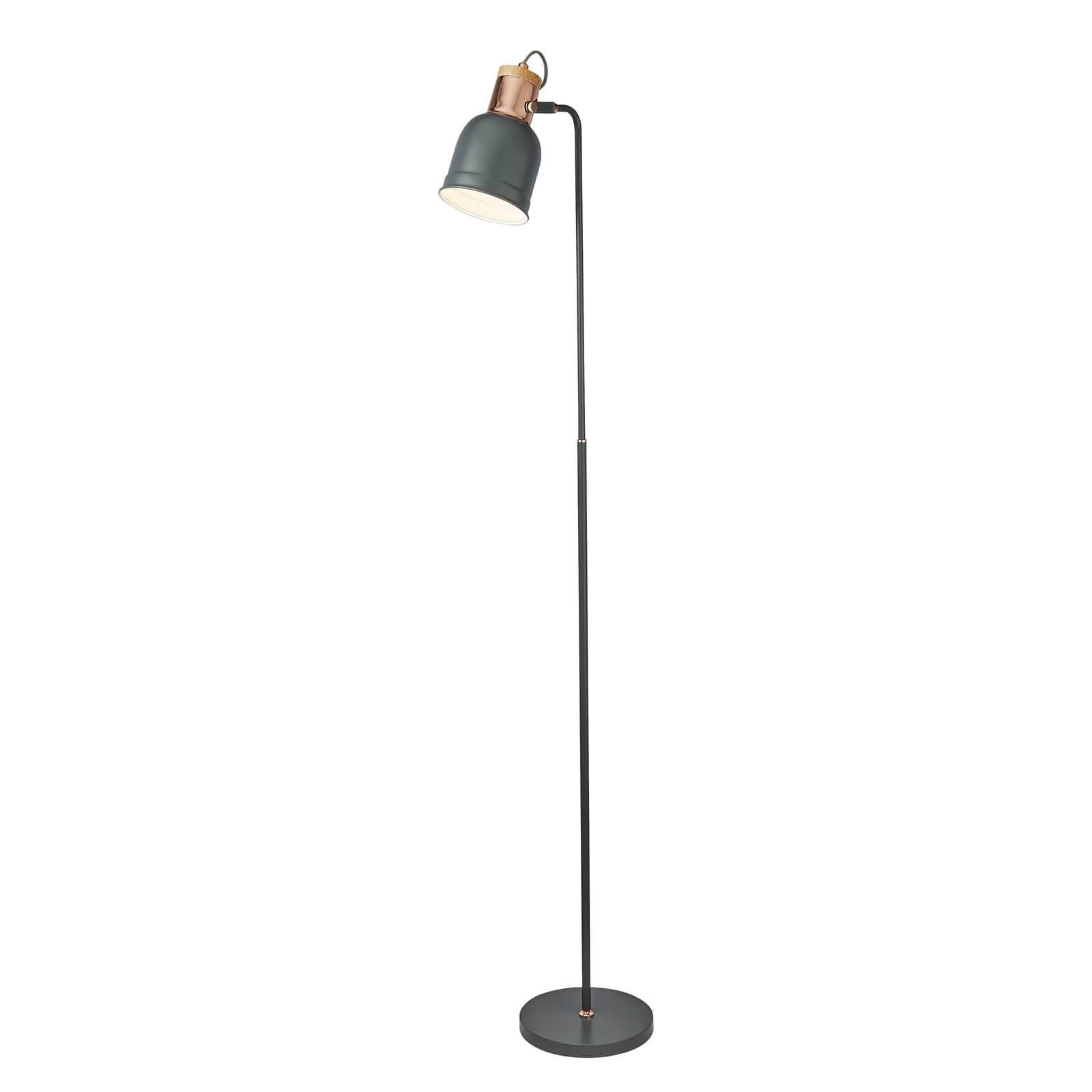 Barham Floor Lamp - Matt Grey and Copper
