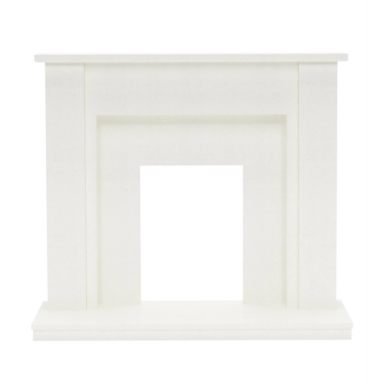 Be Modern Elda Marble Electric Fireplace Surround - White