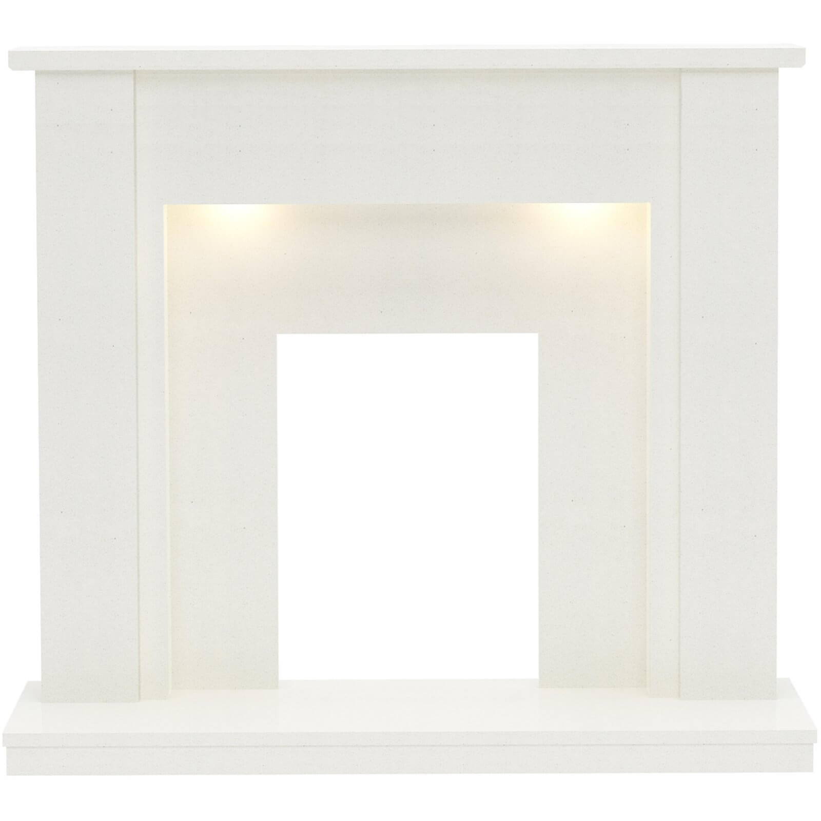 Be Modern Elda Marble Electric Fireplace Surround - White with Lights