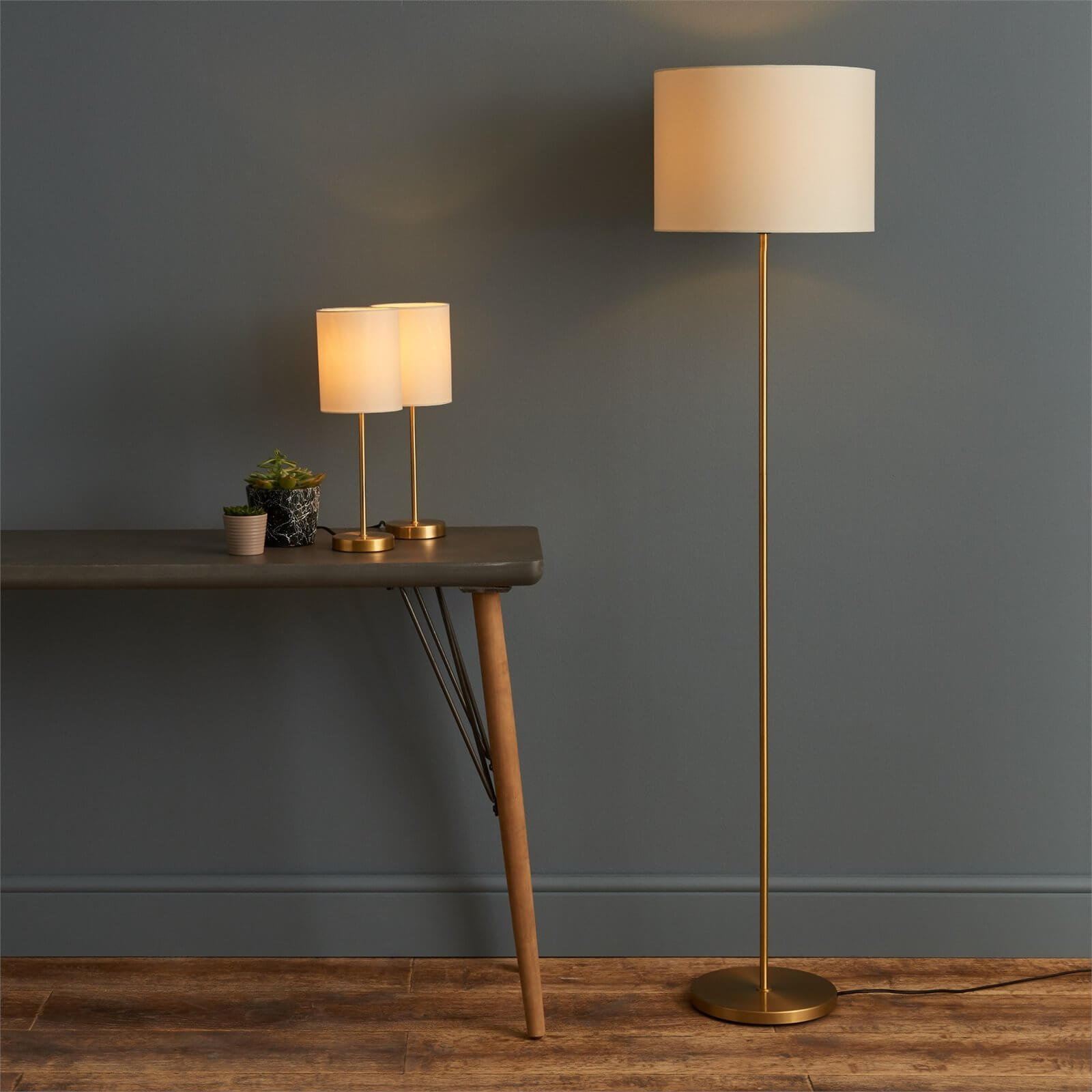 Floor Lamp & Matching Table Lamps Set - Gold and Cream