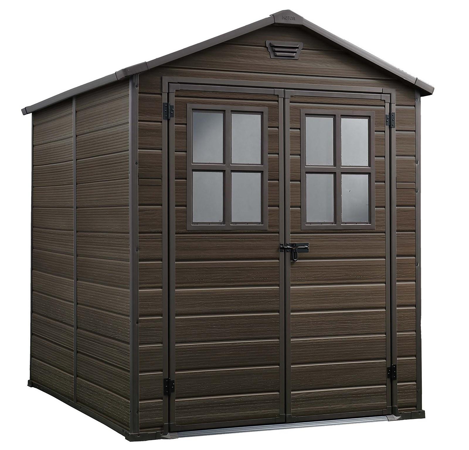Keter Scala 6 x 8ft Outdoor Garden Apex Storage Shed - Brown