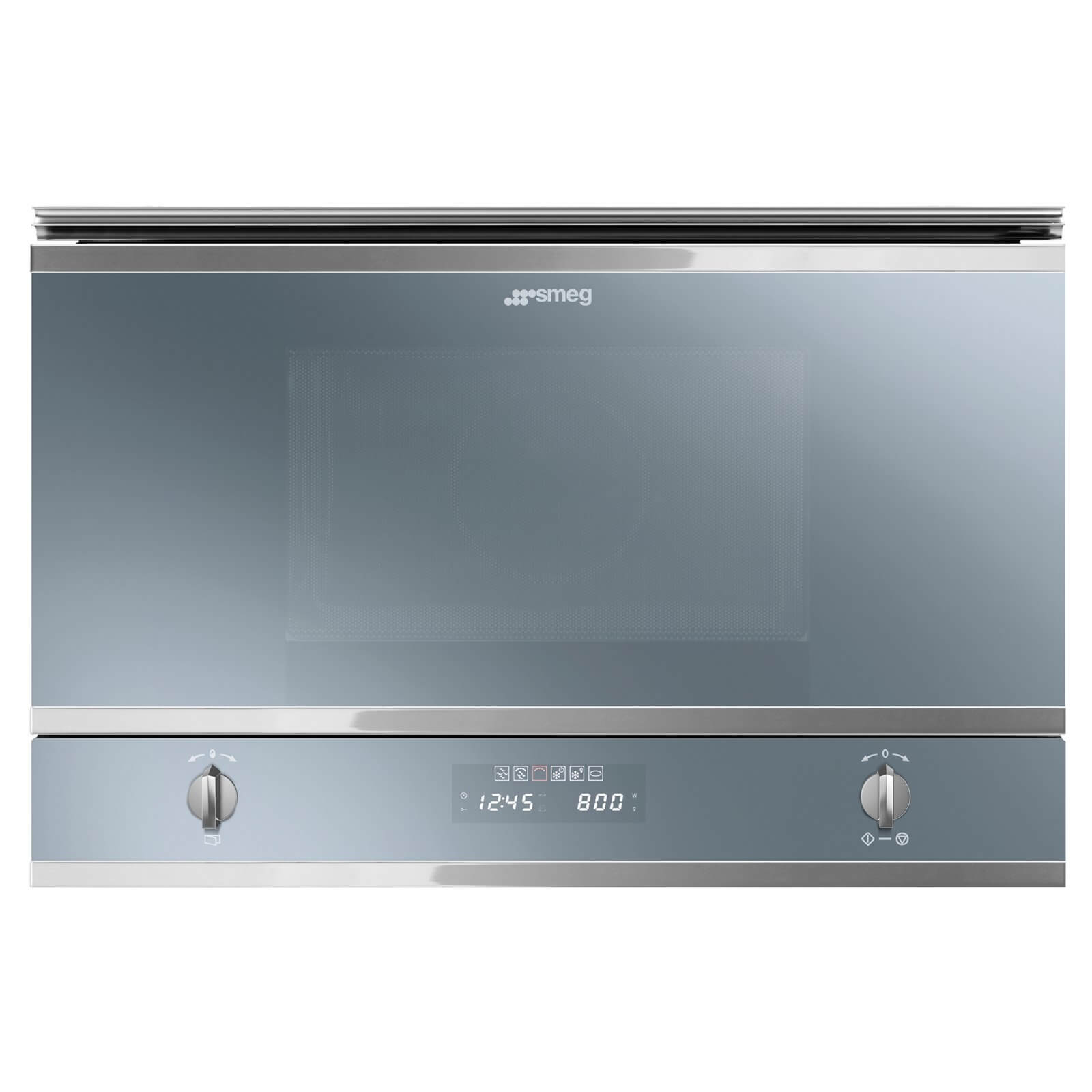 Smeg MP422S Cucina Silver Glass Microwave Oven with Grill and side opening door -320mm depth