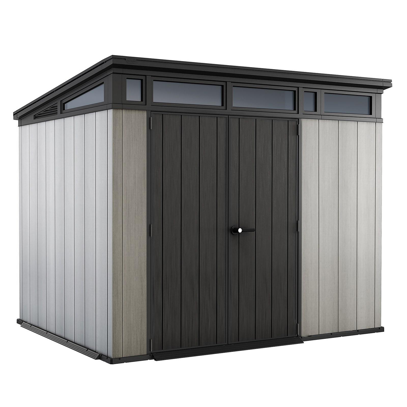 Keter Artisan 9 x 7ft Outdoor Garden Storage Pent Shed - Grey