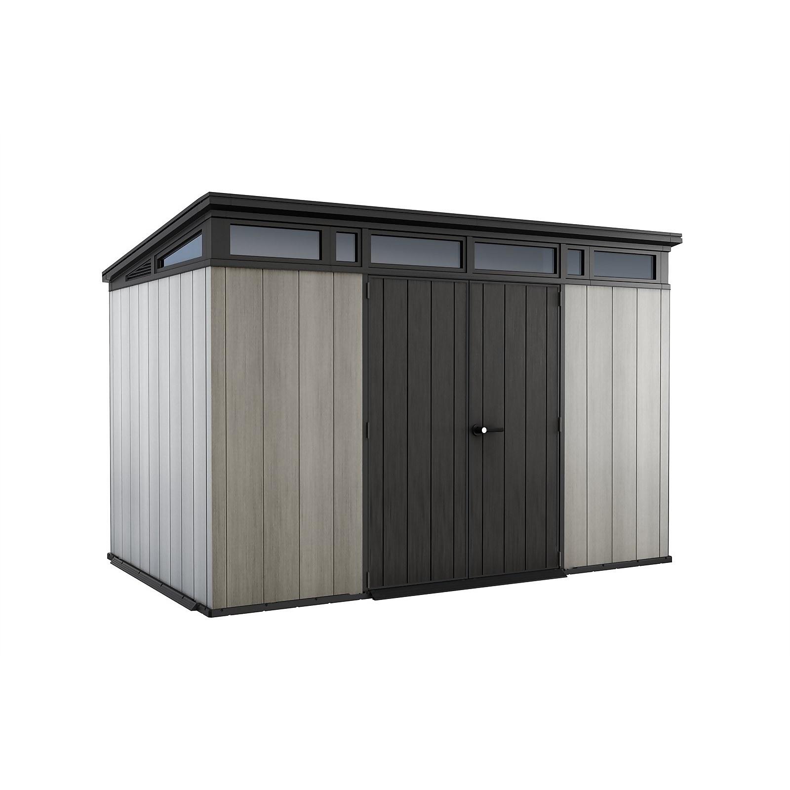 Keter Artisan 11x7ft Outdoor Plastic Garden Storage Pent Shed - Grey