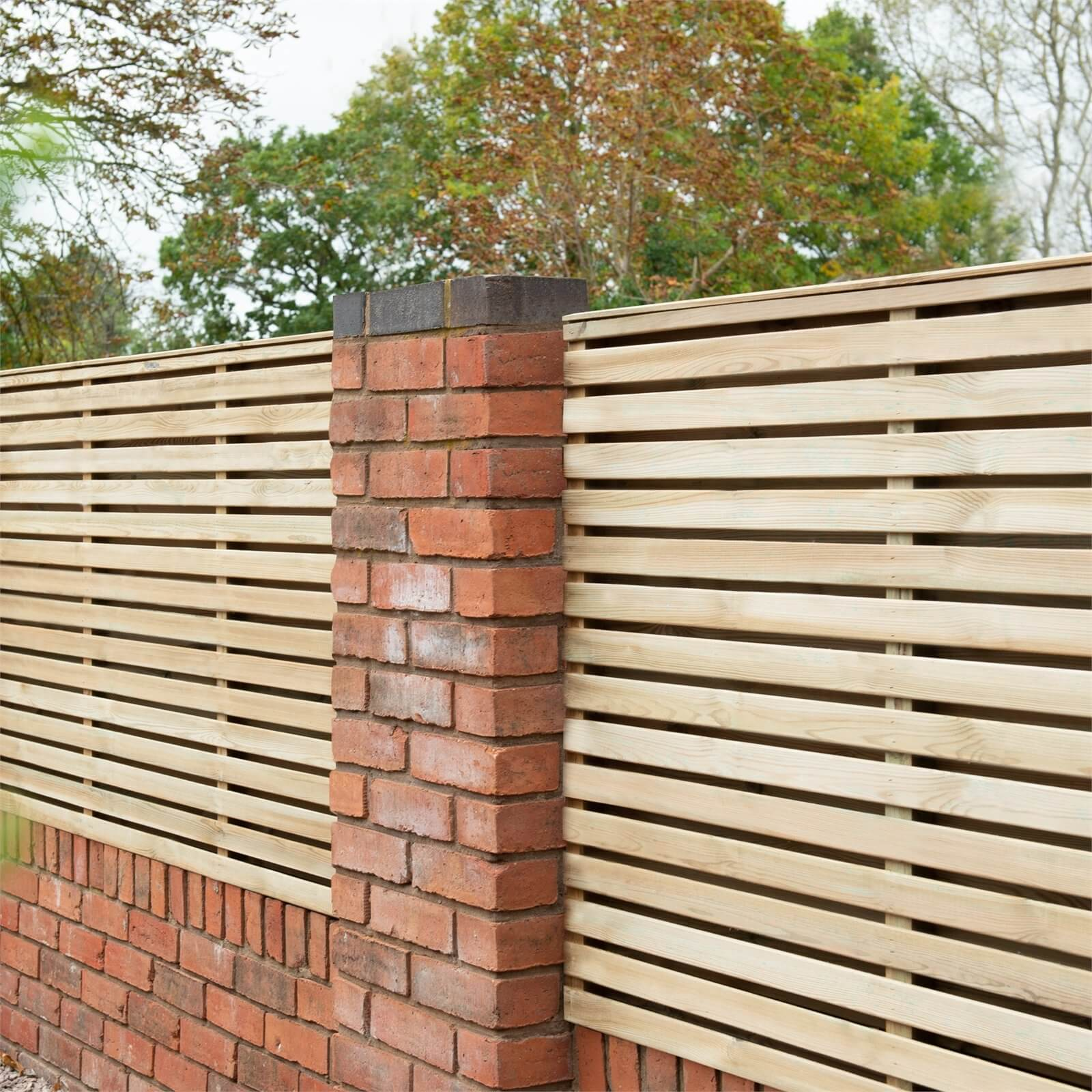 Forest Double Forest Slatted Fence Panel - 3ft - Pack of 4