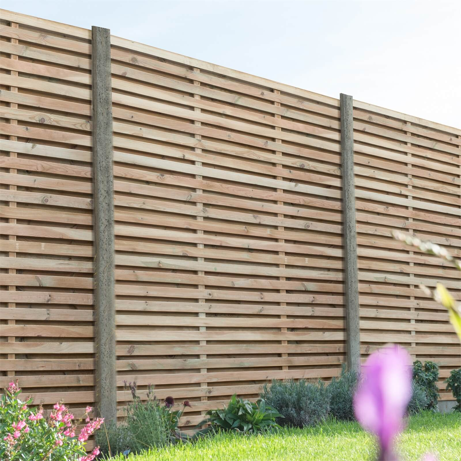 Forest Double Forest Slatted Fence Panel - 6ft - Pack of 4