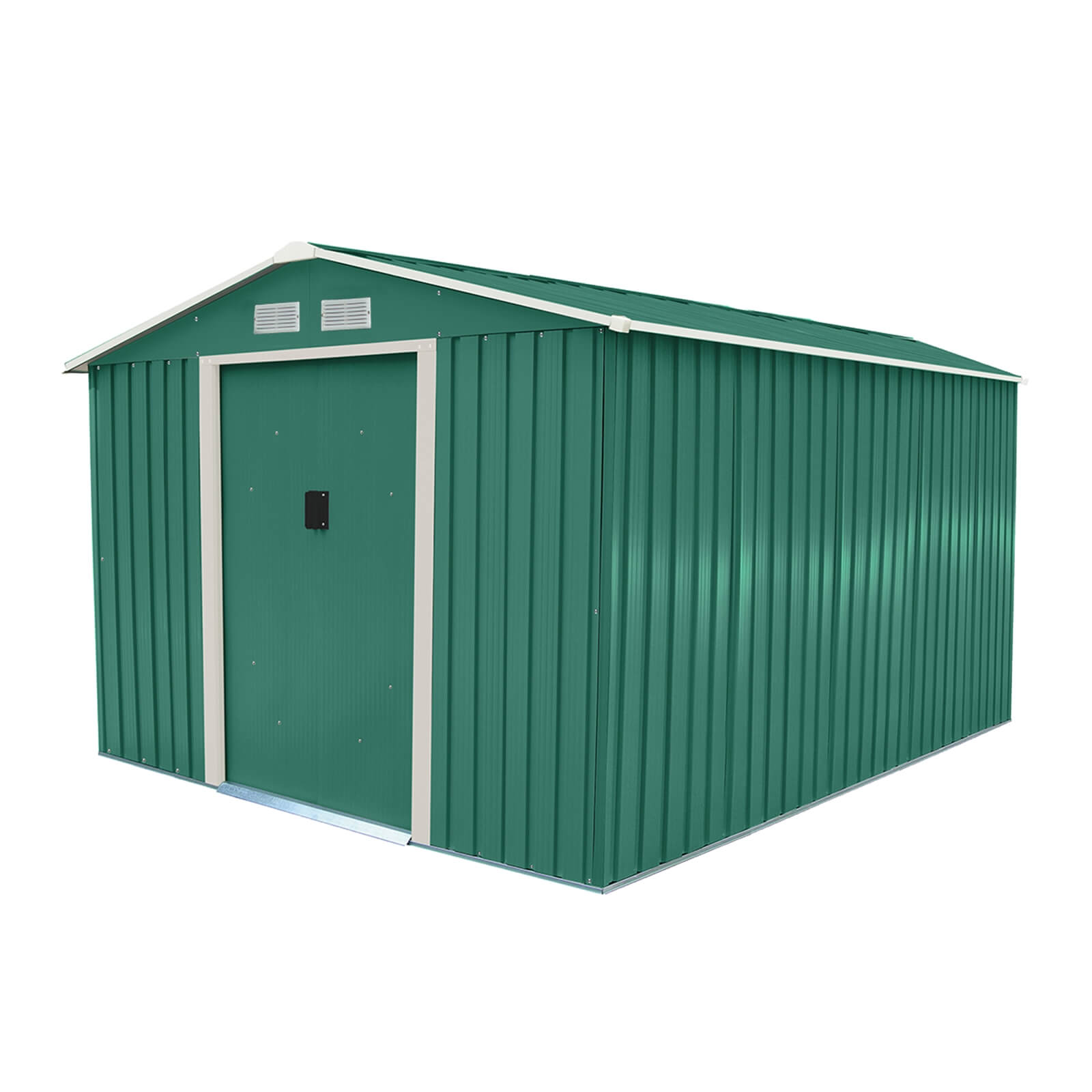 Charles Bentley 8ft x 10ft Grey Metal Garden Shed with Floor Foundation Kit
