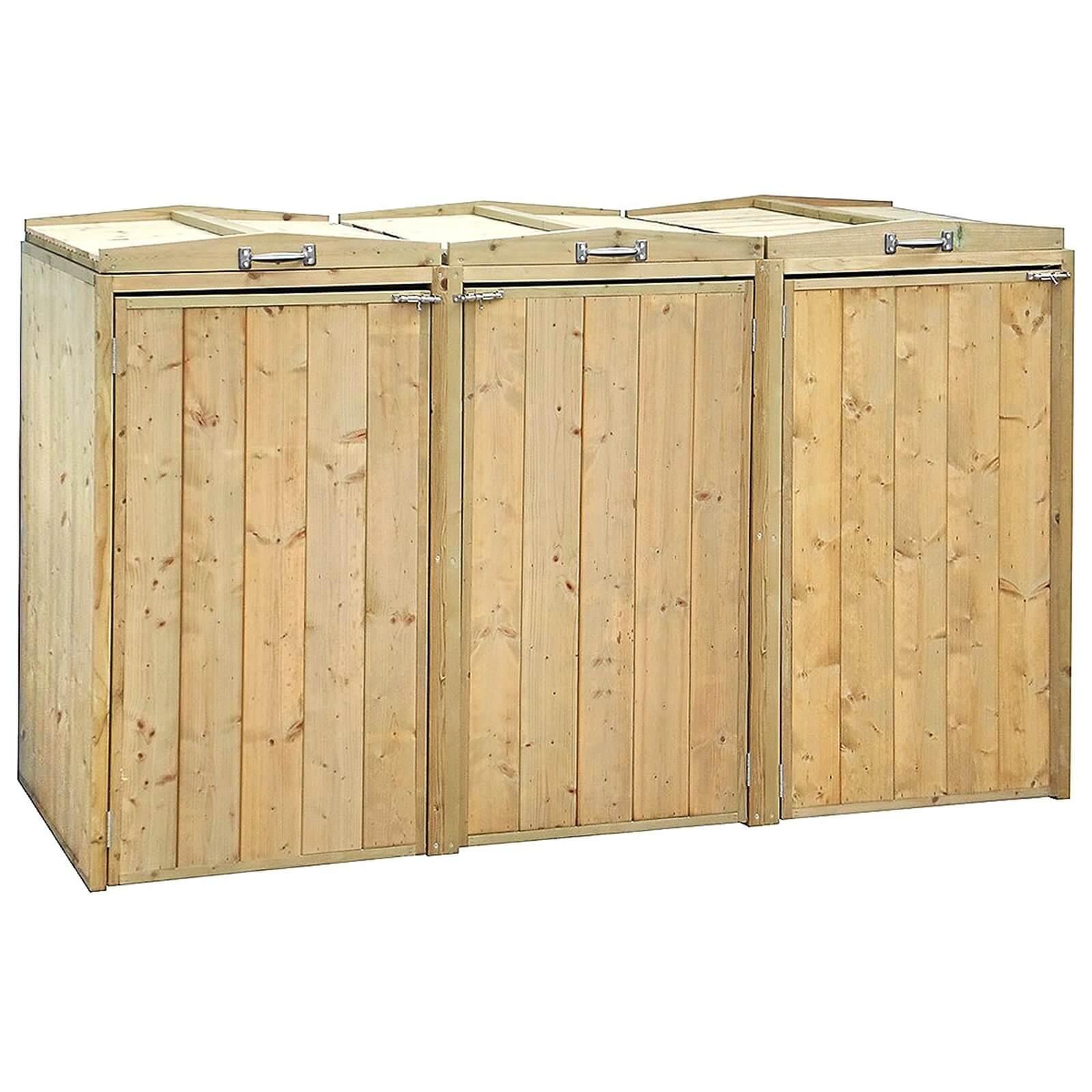 Charles Bentley Premium FSC Wooden Double Wheelie Bin and Recycle Box Storage
