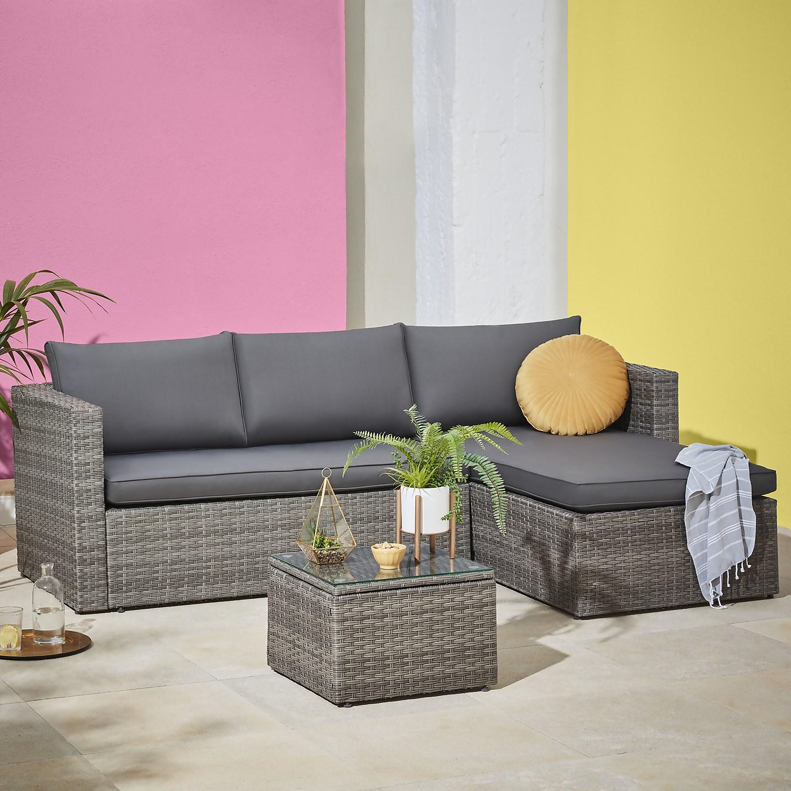 Homebase Alexandria 4 Seater Garden Corner Sofa - Grey