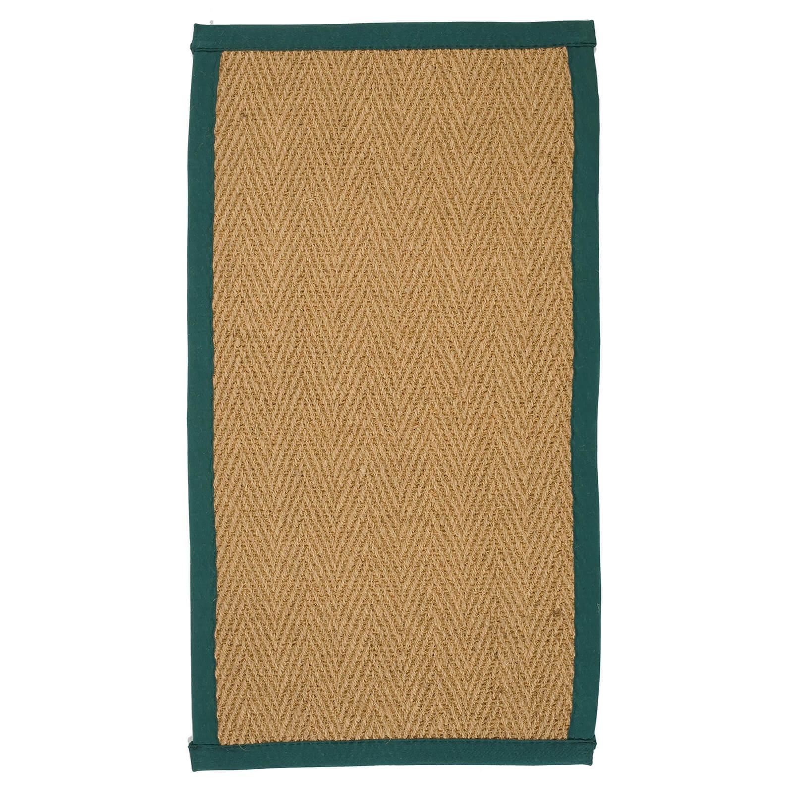 Coir Herringbone Rug - With Green Border