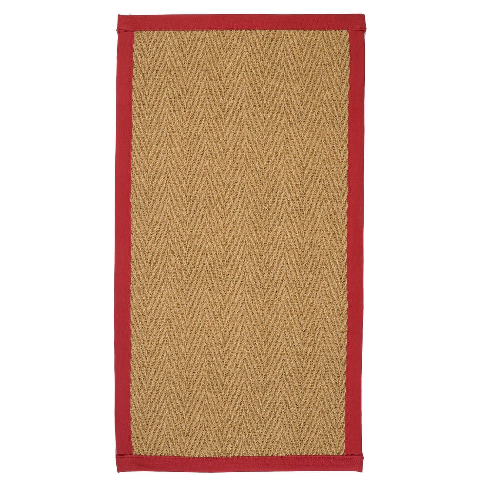 Coir Herringbone Rug - With Red Border