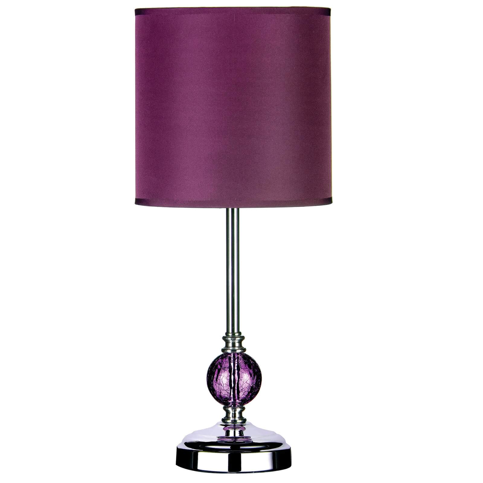 Crackle Glass Purple Shade Table Lamp