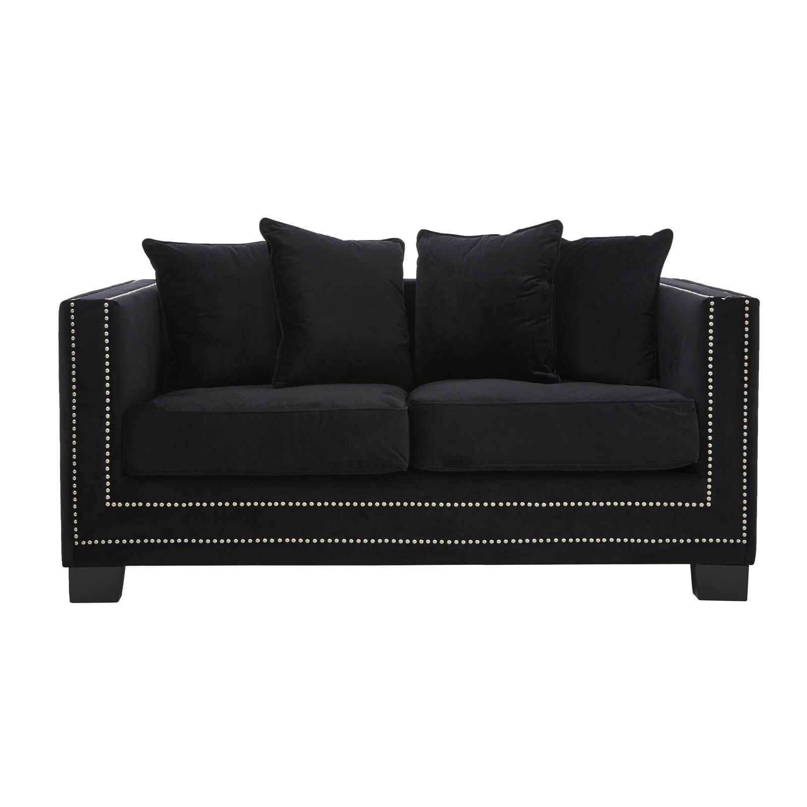 Sofia 2 Seater Velvet Sofa - Black