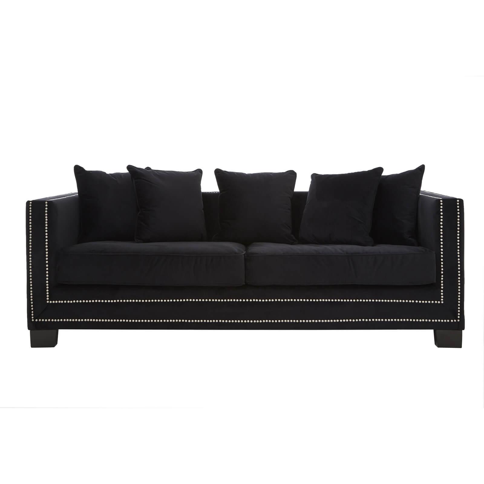 Sofia 3 Seater Velvet Sofa - Black