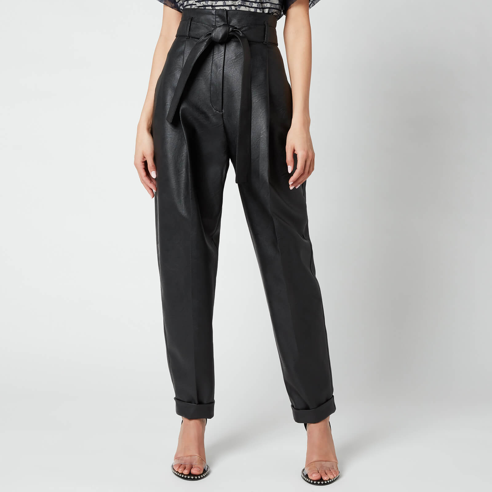 Philosophy di Lorenzo Serafini Women's Faux Leather Trousers with Bow Detail - Black - IT 42/UK 10