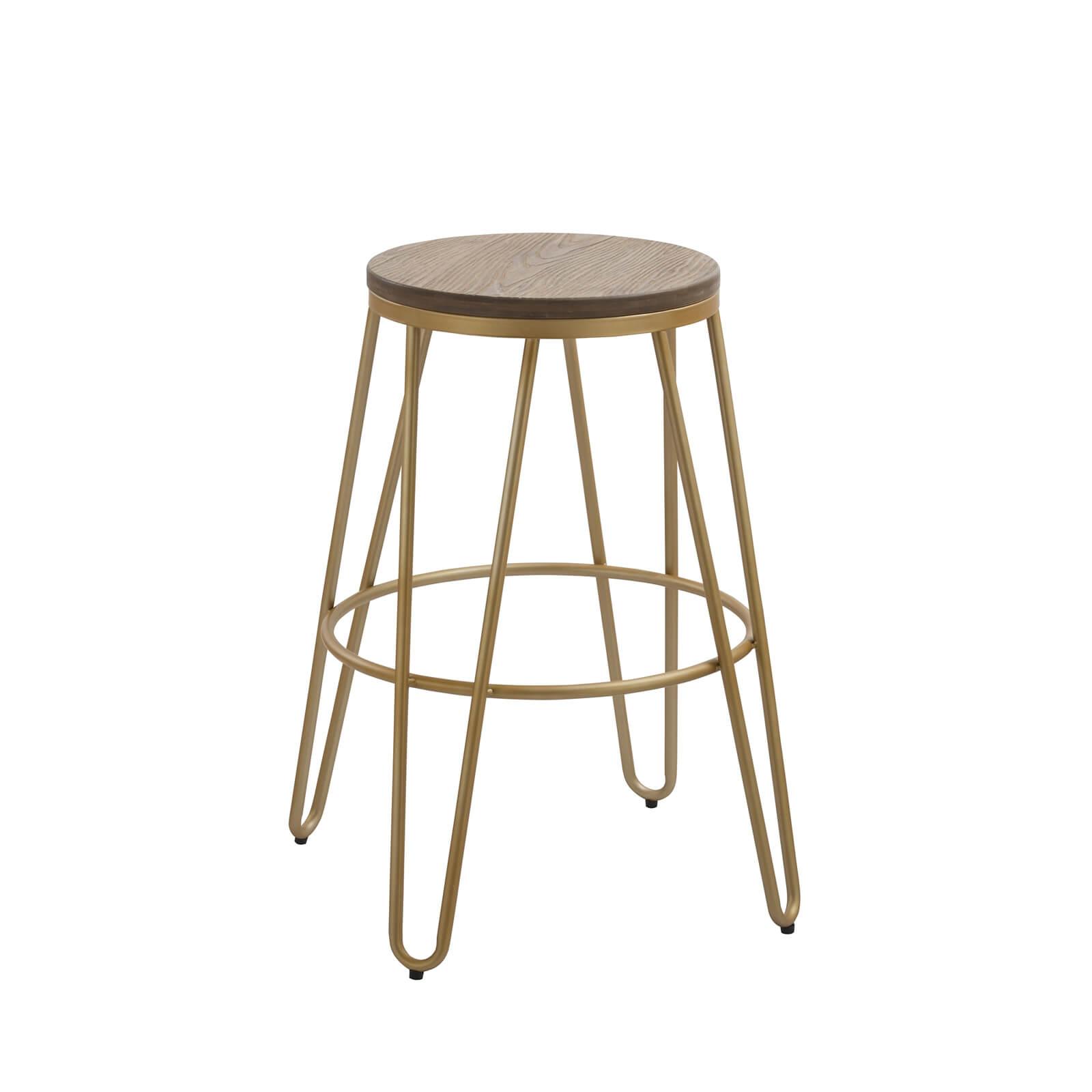 Ikon Wood Seat with Gold Legs Bar Stool