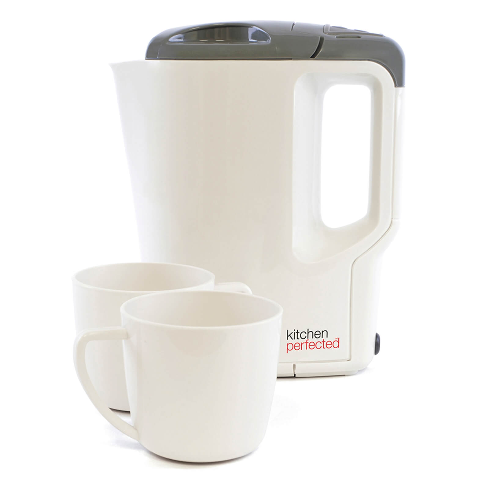 Travel Kettle with Cups Cream Grey