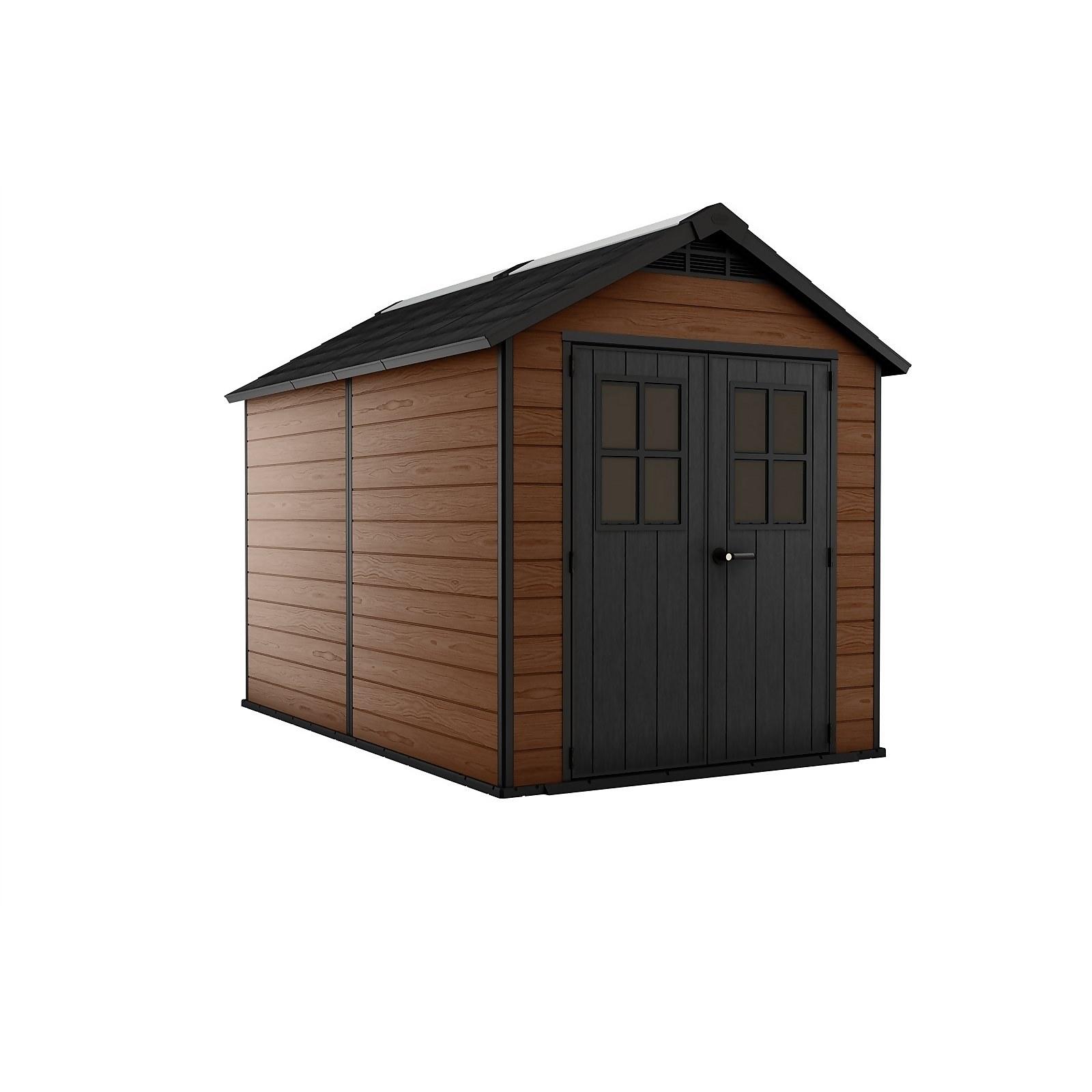 Keter Newton 7.5 x 11ft Outdoor Plastic Garden Storage Shed - Brown