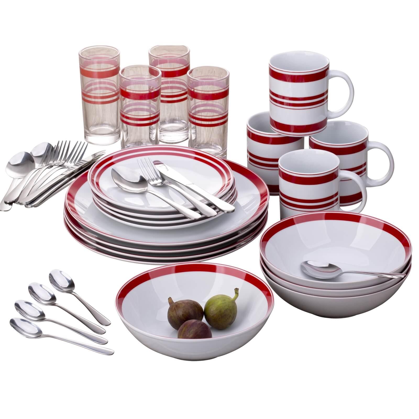 Bistro Stripe Combo 36 Piece Dinner Set - Red