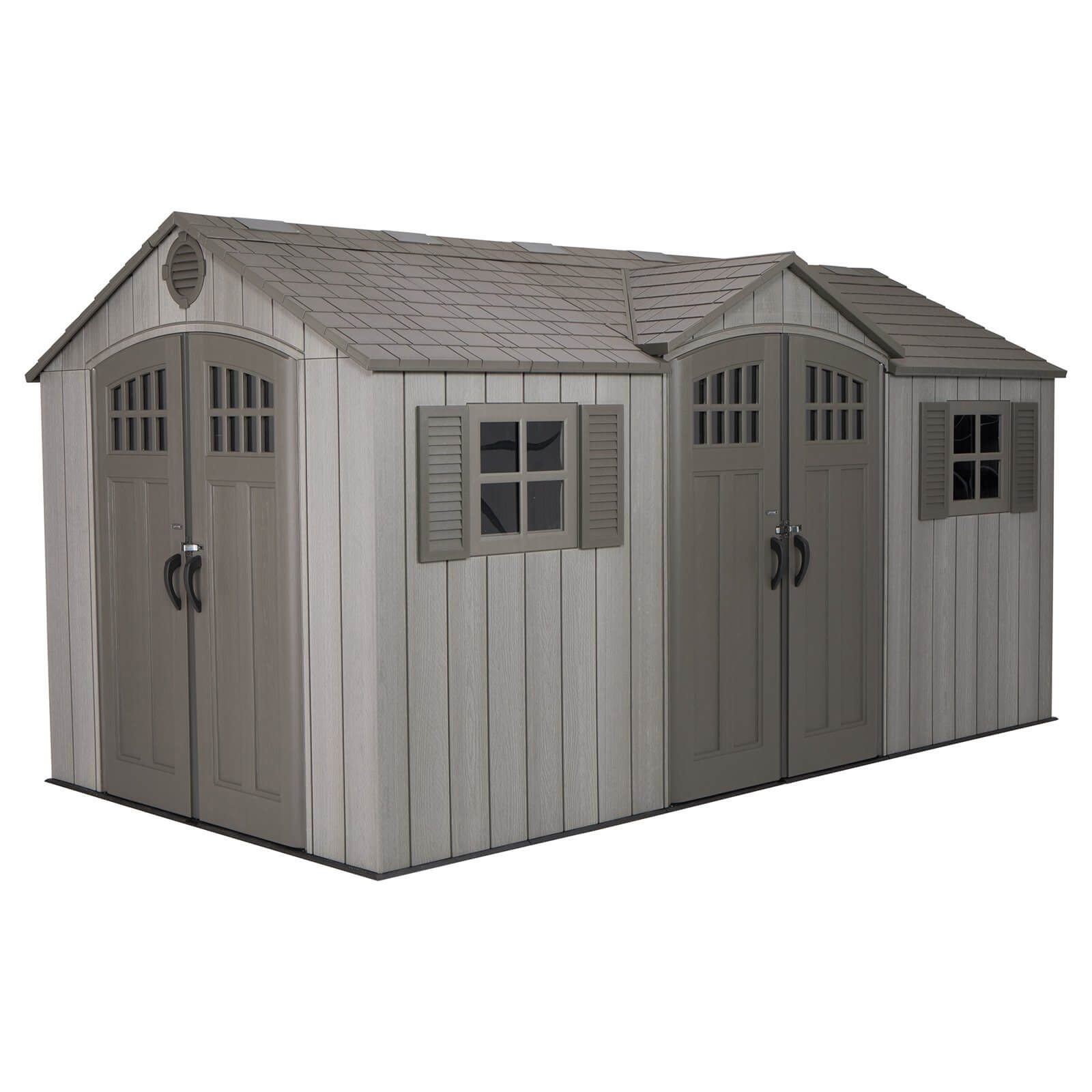 Lifetime 15x8 ft Rough Cut Dual Entry Outdoor Storage Shed