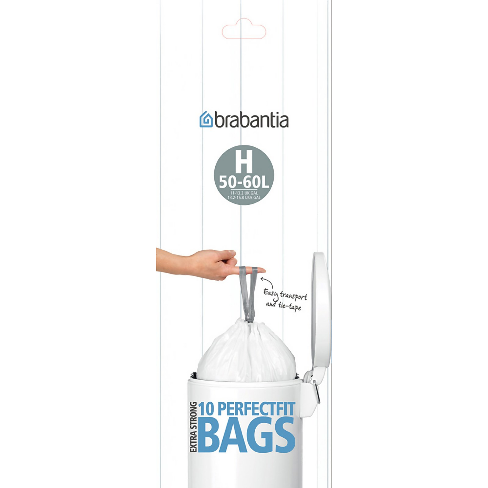 Brabantia Bin Liners - 50L and 60L - 10 Pack - White