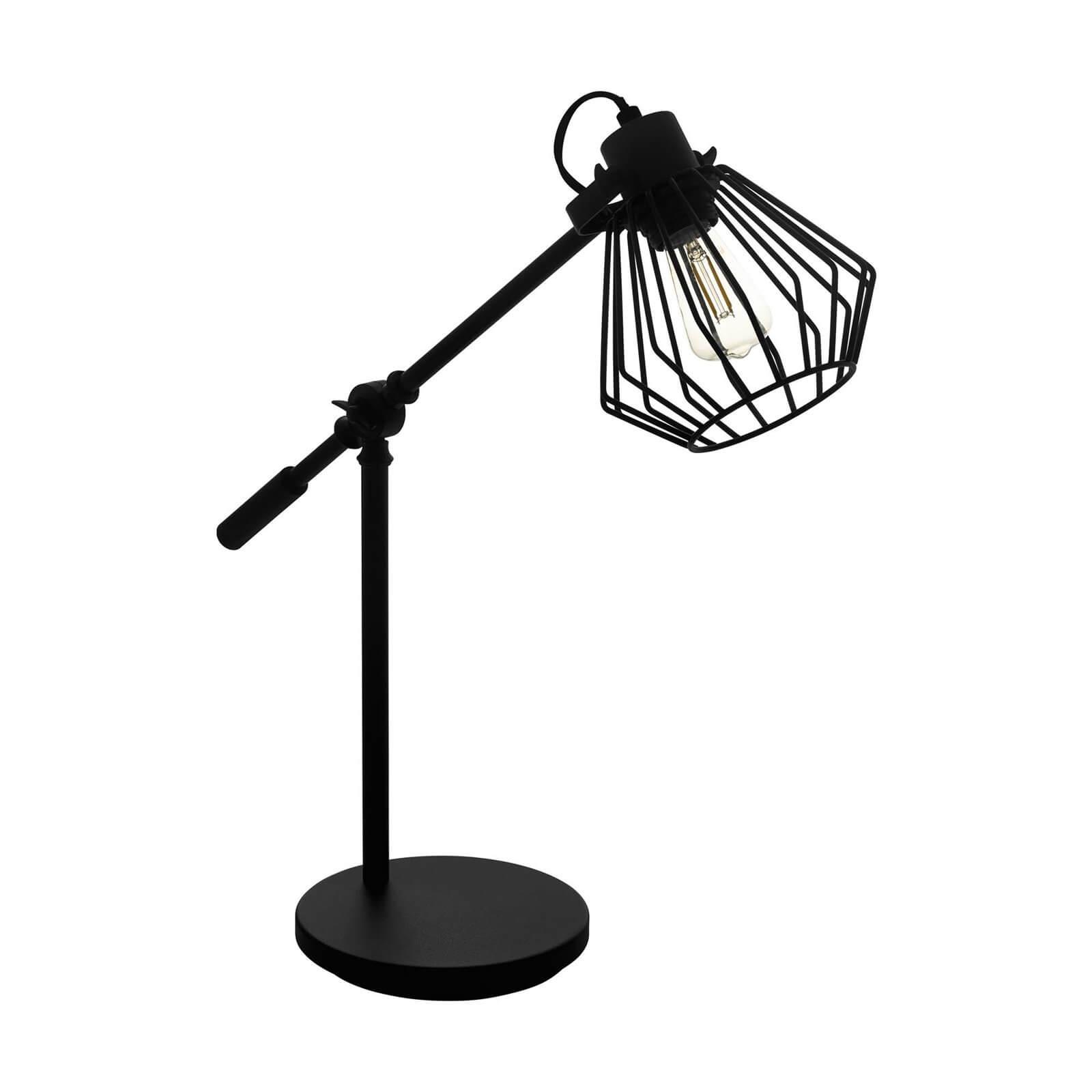 EGLO Tabillano 1 Industrial Black Caged Table Lamp
