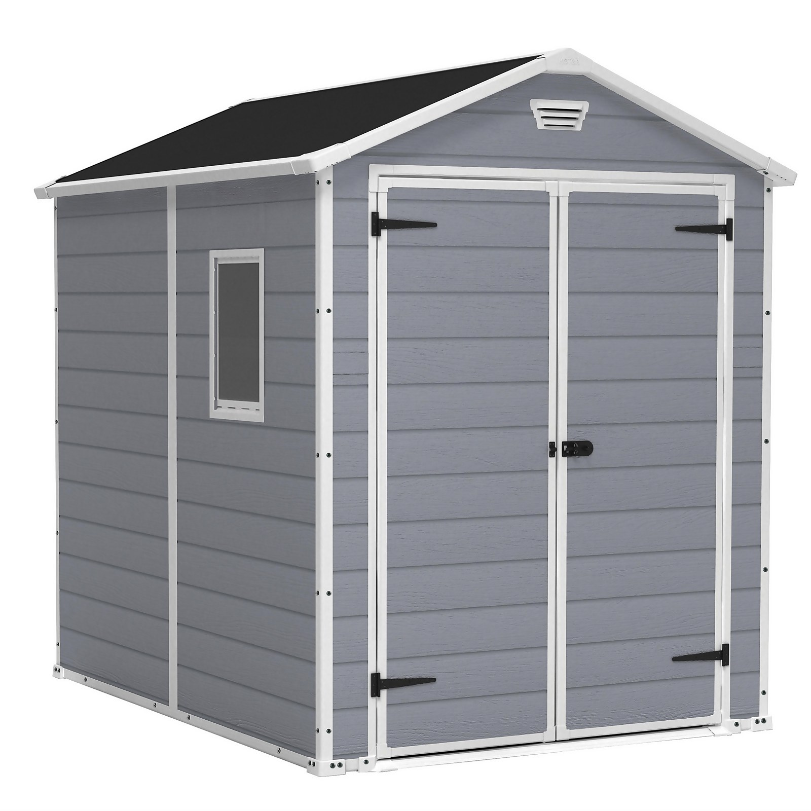 Keter Manor 6 x 8ft Outdoor Plastic Garden Storage Shed - Grey