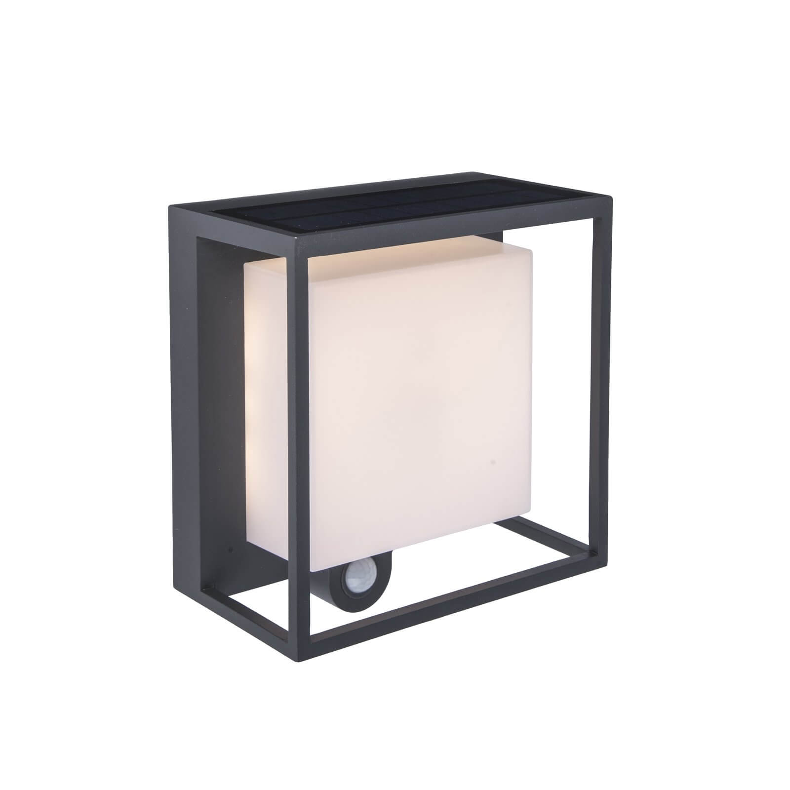 Lutec Curtis Solar LED Outdoor Wall Light With PIR Motion Sensor