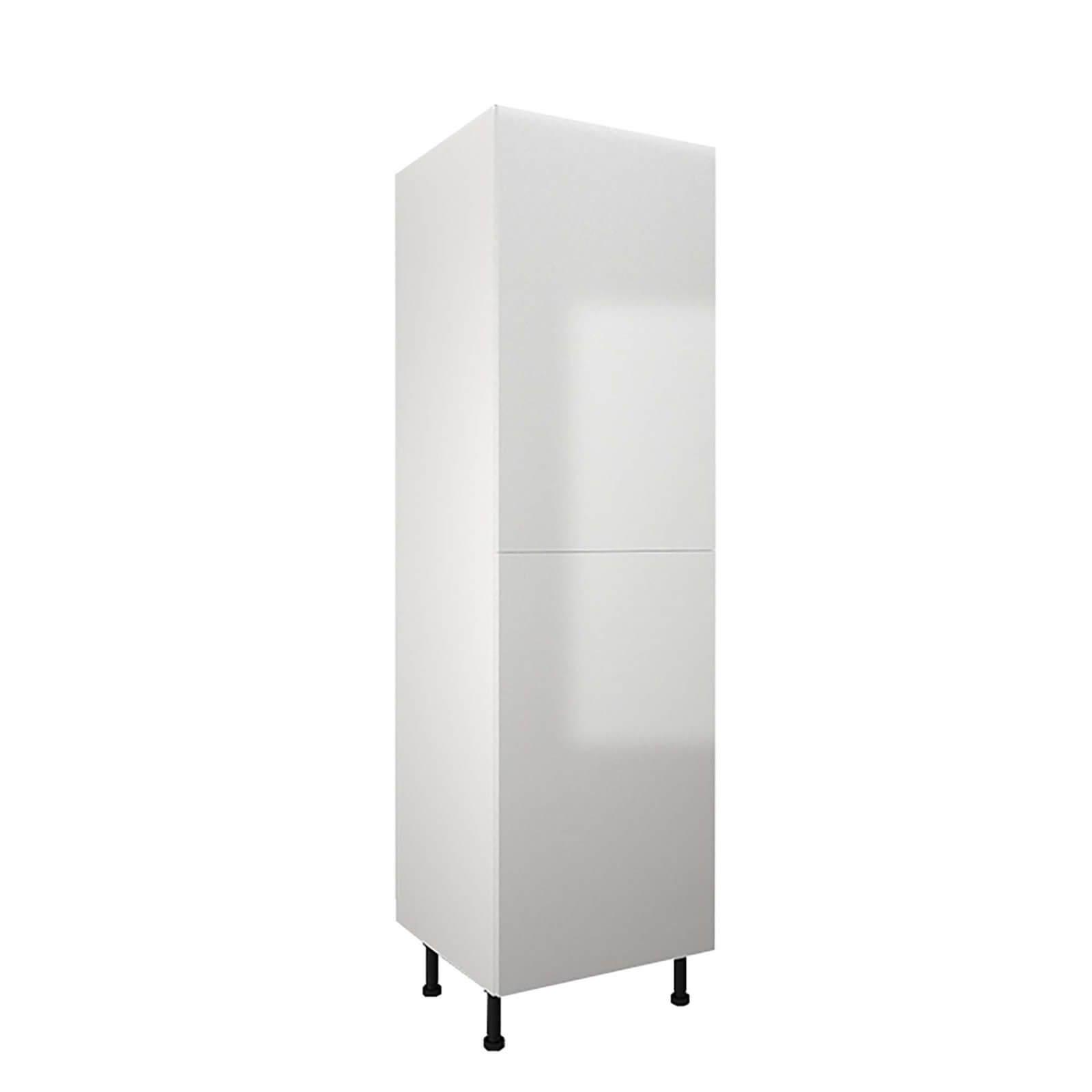 High Gloss Slab White 600mm Larder 50:50 Fridge Freezer Unit