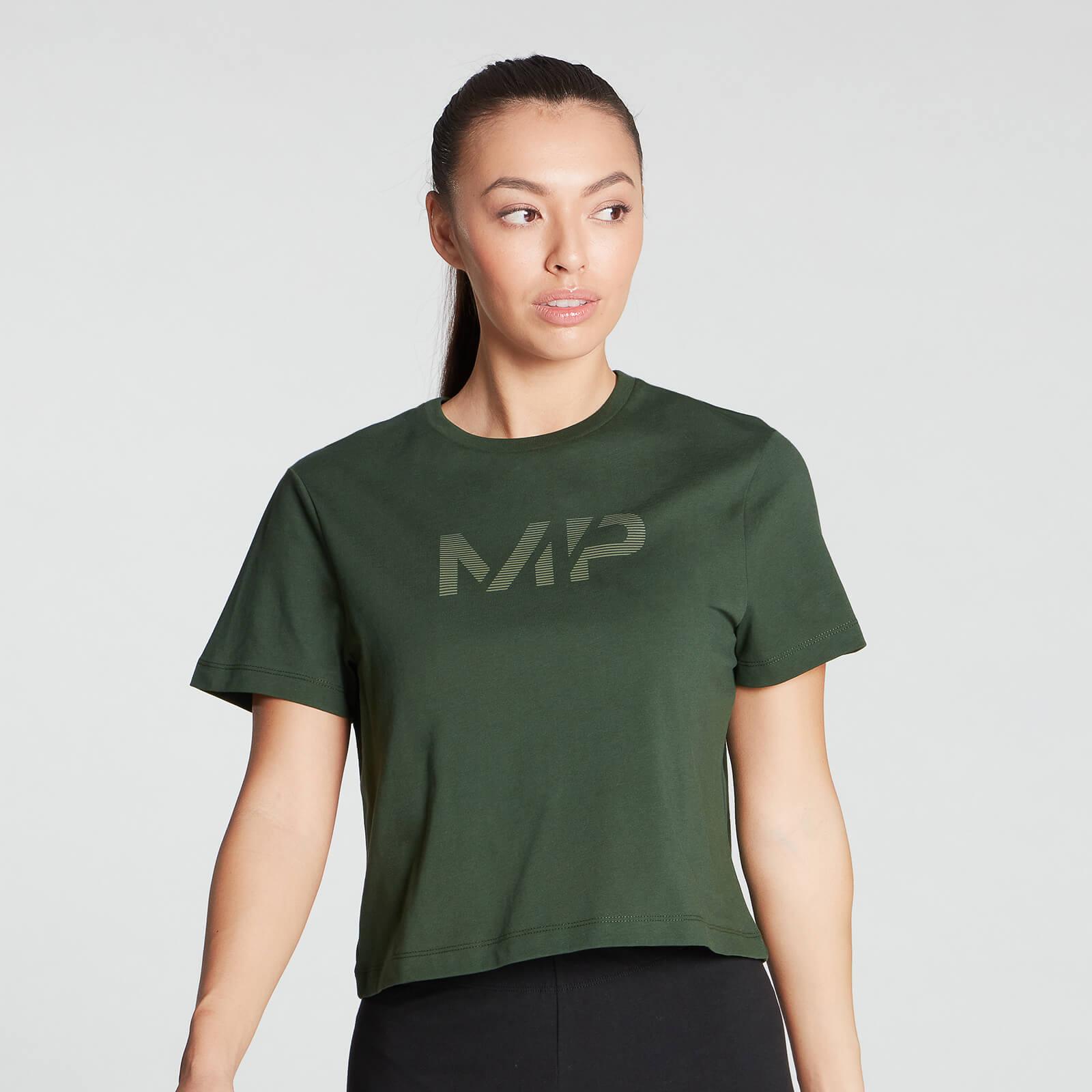 MP Women's Gradient Line Graphic Crop T-shirt- Dark Green - XXL