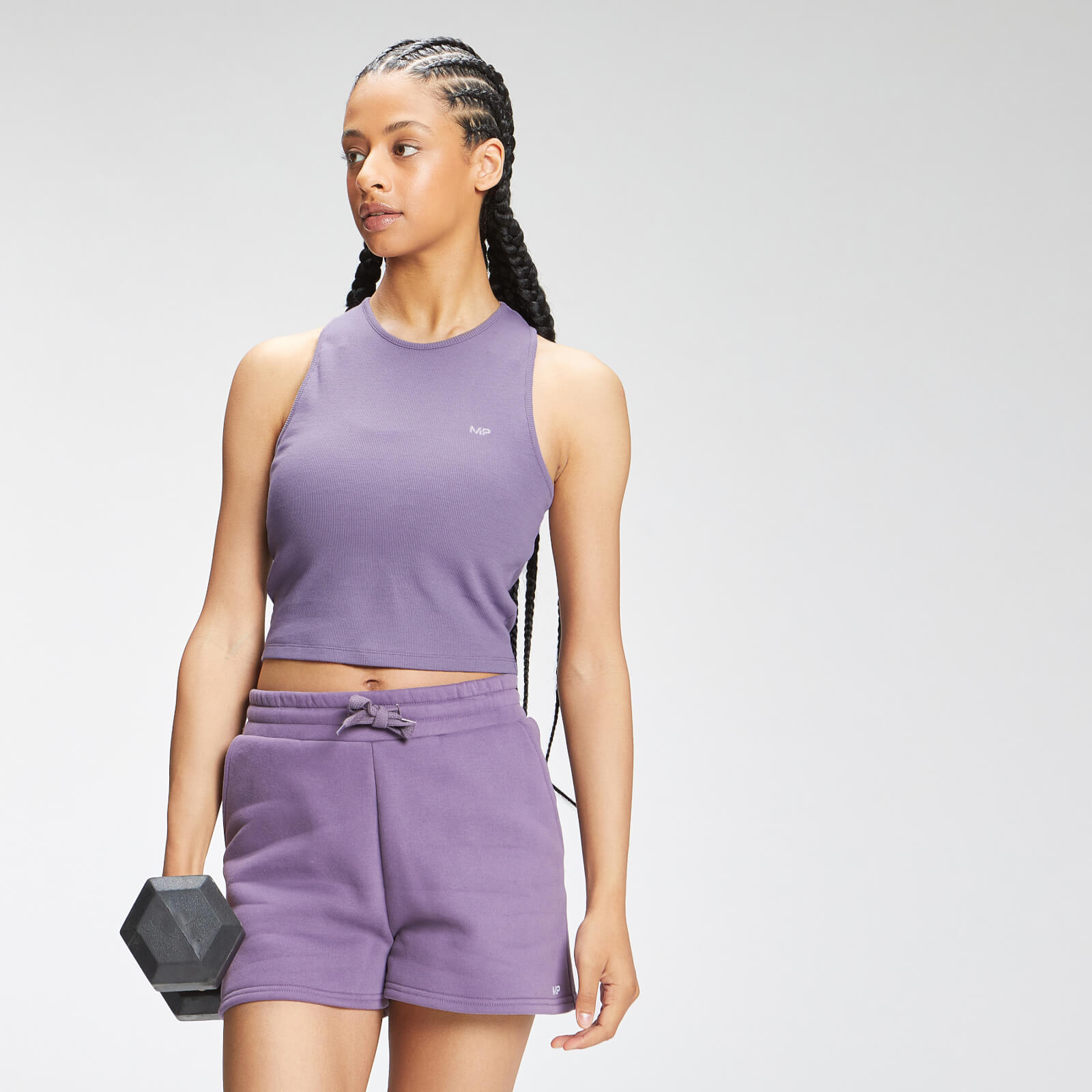 Купить MP Women's Essential Cropped Rib Vest - Smokey Purple - L, Myprotein International