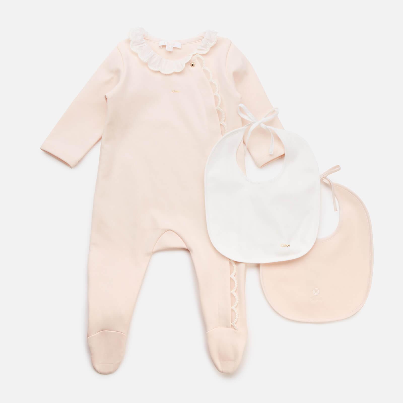 Chloe Baby Girls' Pyjamas and 2 Bibs Set - Salmon - Newborn