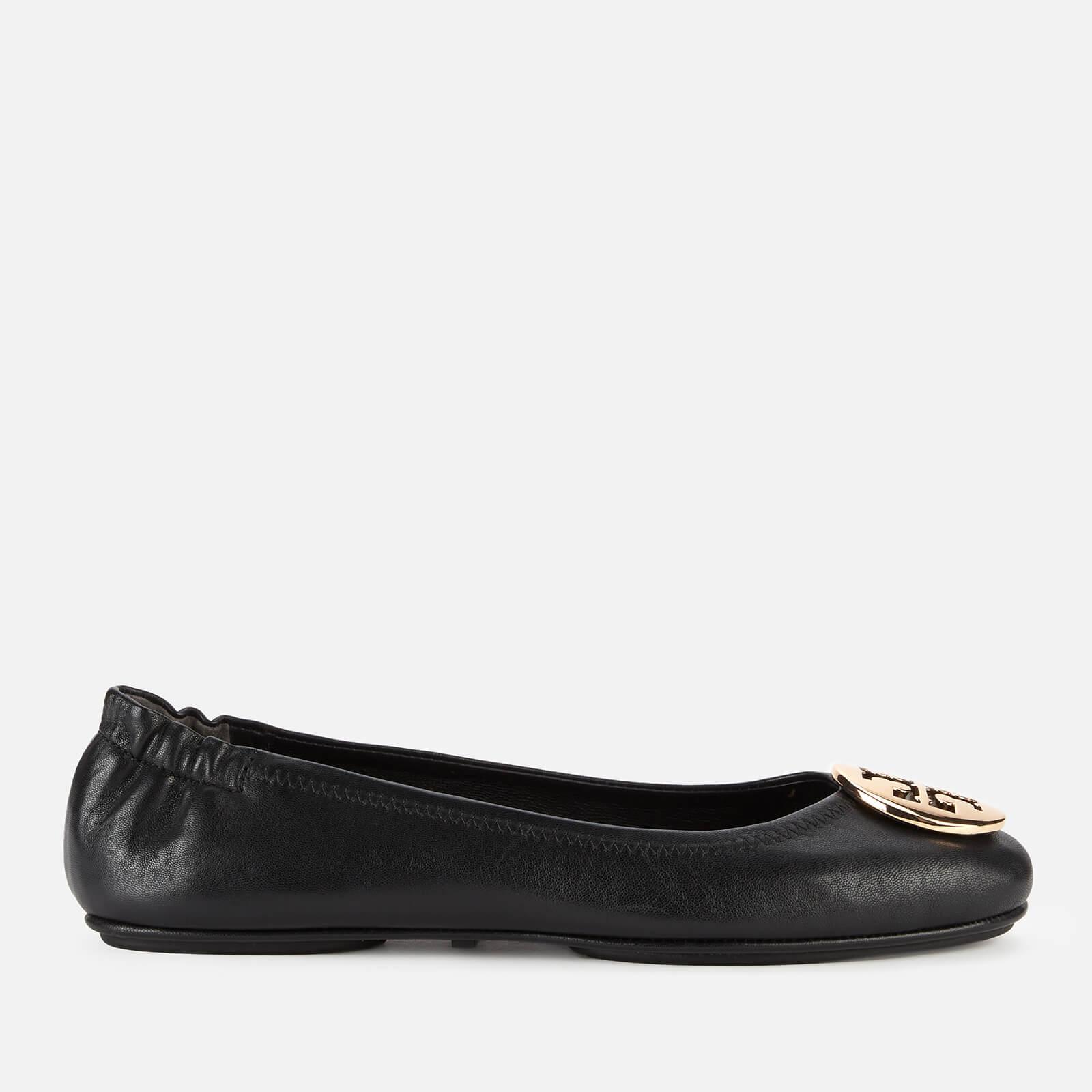Tory Burch Women's Minnie Metal Logo Leather Ballet Flats - Perfect Black/Gold - 3