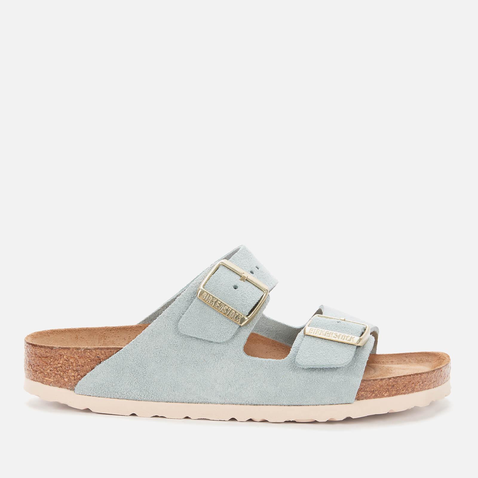 Birkenstock Womens Arizona Sfb Suede Double Strap Sandals Light Blue Eu 38 Uk 5