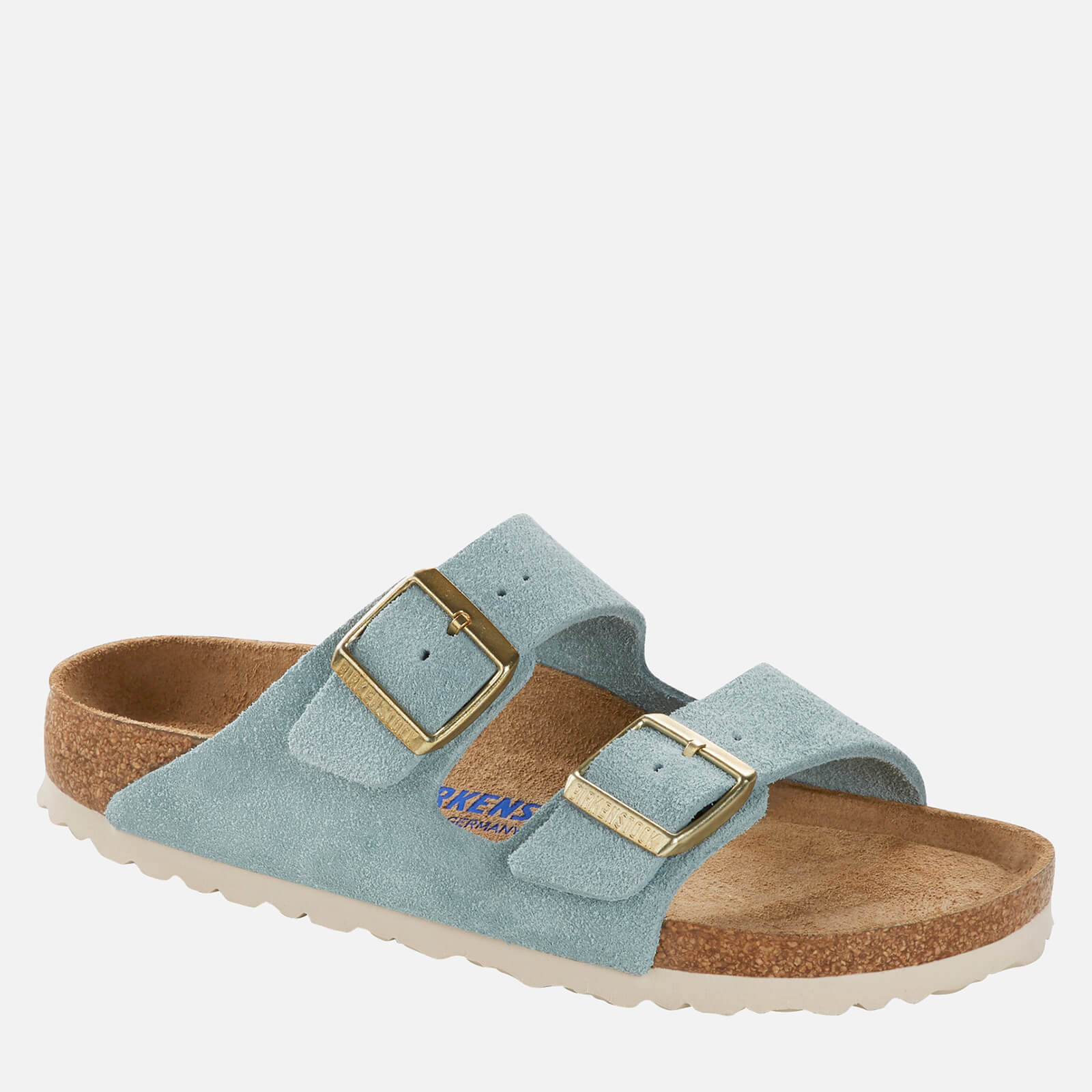 Birkenstock Womens Arizona Sfb Suede Double Strap Sandals Light Blue Eu 39 Uk 55
