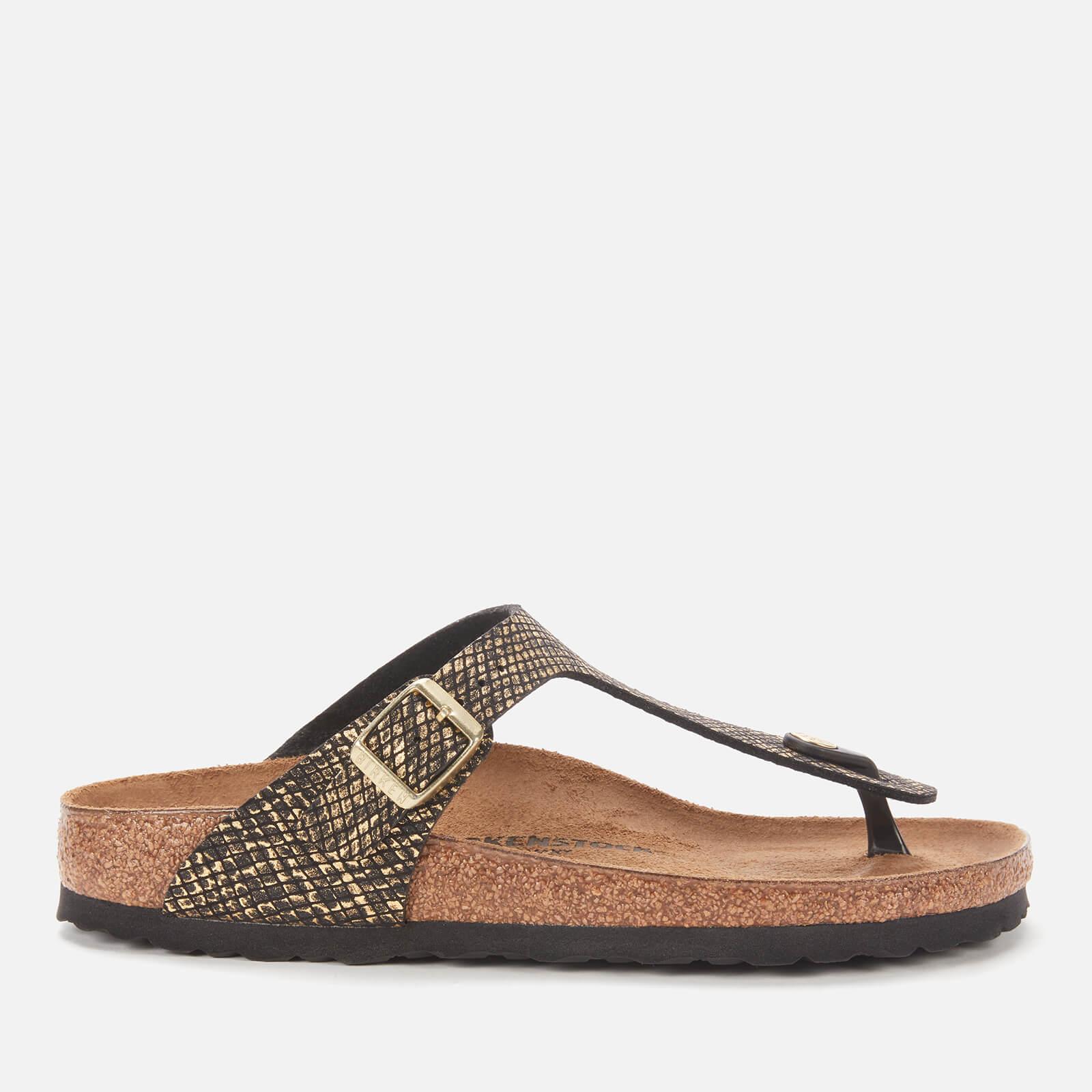 Birkenstock Womens Shiny Python Gizeh Toe Post Sandals Black Gold Eu 36 Uk 35