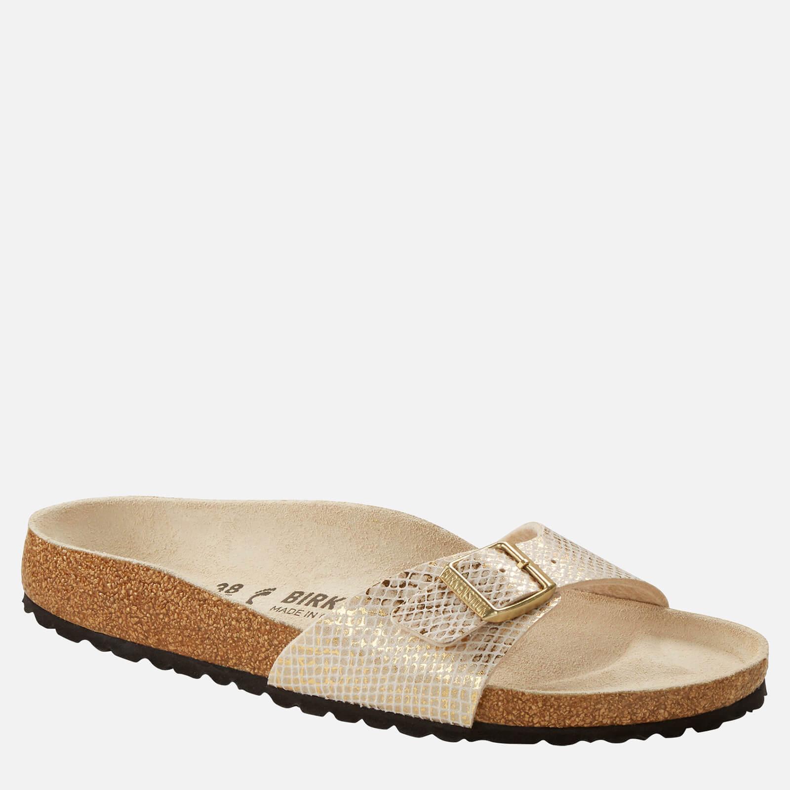 Birkenstock Womens Shiny Python Madrid Single Strap Sandals Eggshell Gold Eu 38 Uk 5